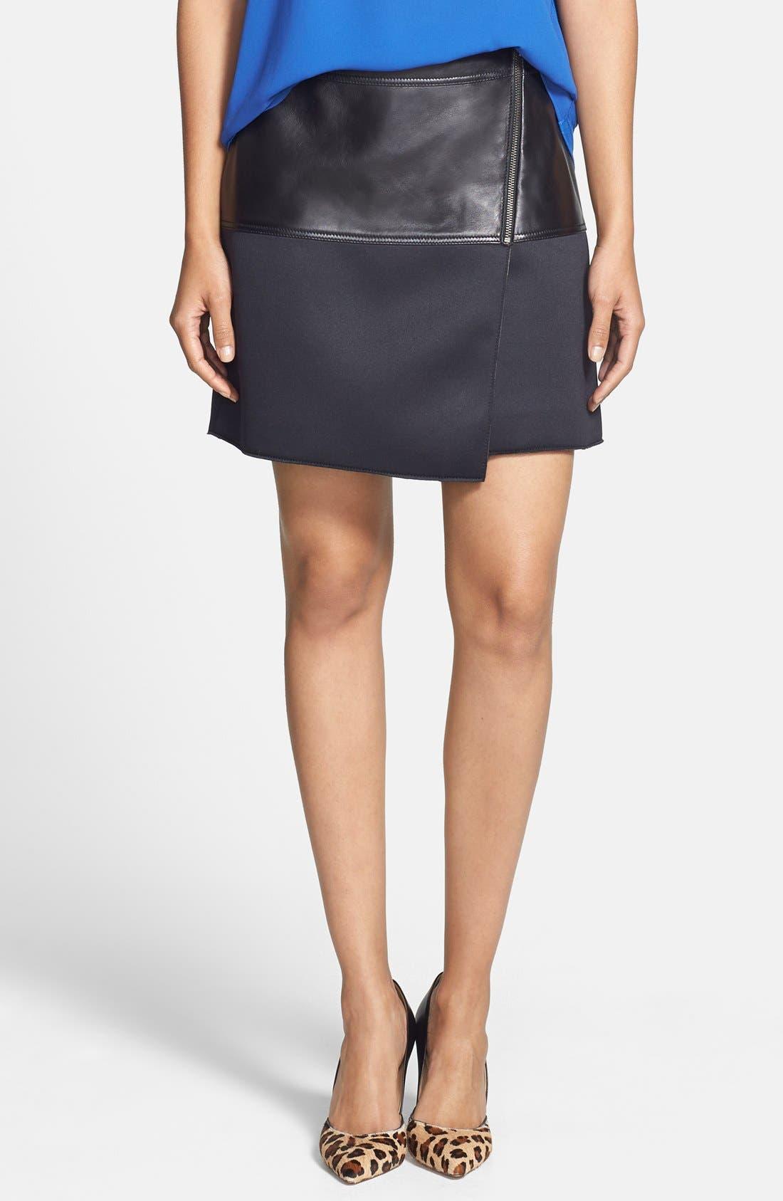 Alternate Image 1 Selected - Halogen® Asymmetrical Zip Leather & Scuba Knit Skirt (Regular & Petite)