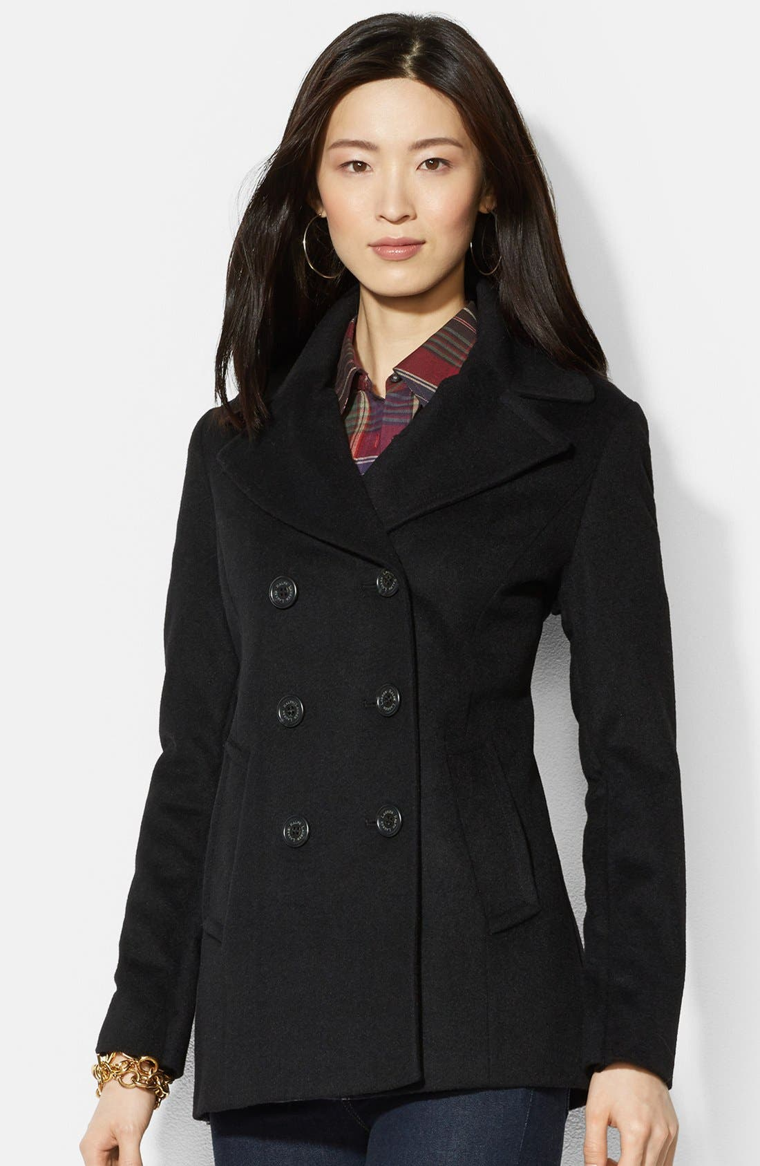 Main Image - Lauren Ralph Lauren Double Breasted Wool Blend Peacoat (Online Only)