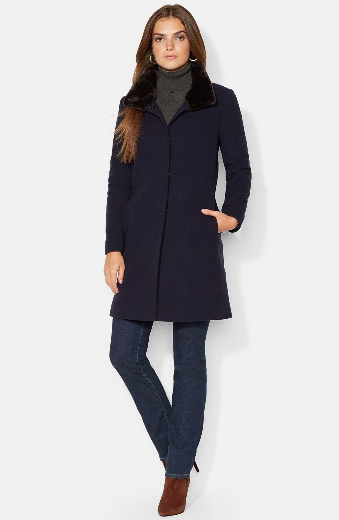 Alternate Image 1 Selected - Lauren Ralph Lauren Faux Fur Trim Wool Blend Coat