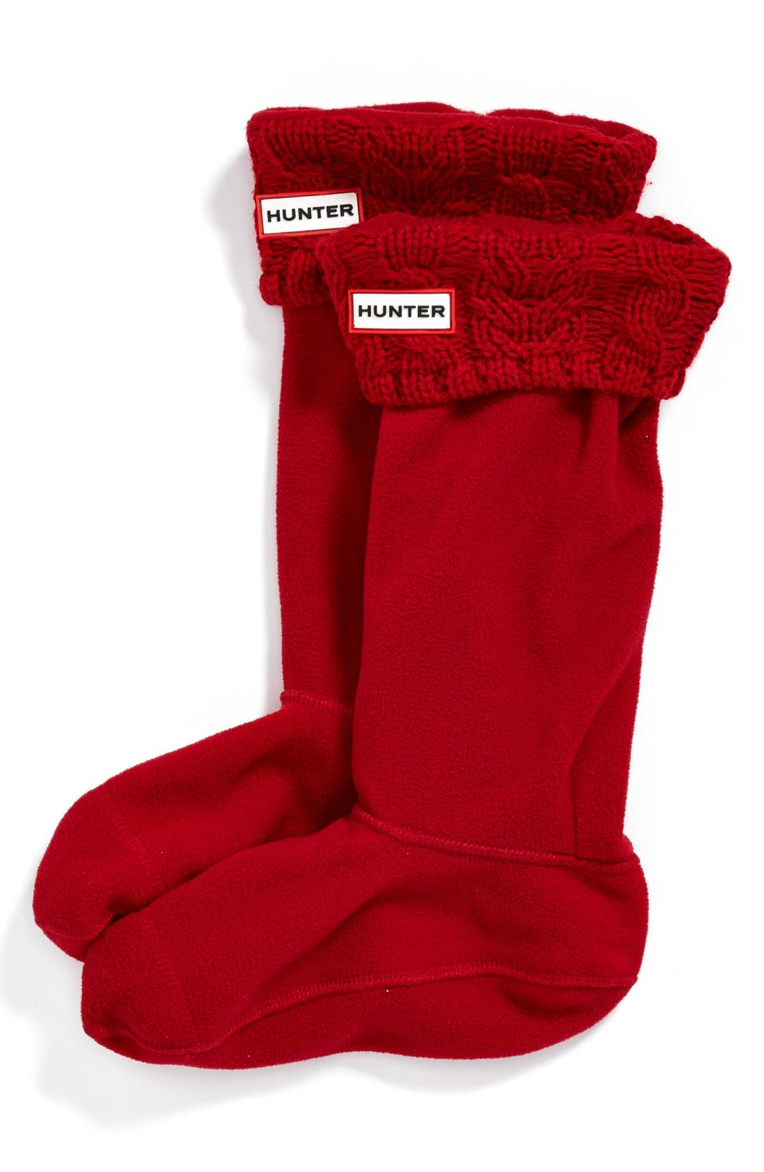 Alternate Image 1 Selected - Hunter Tall Cable Knit Cuff Welly Socks (Women)