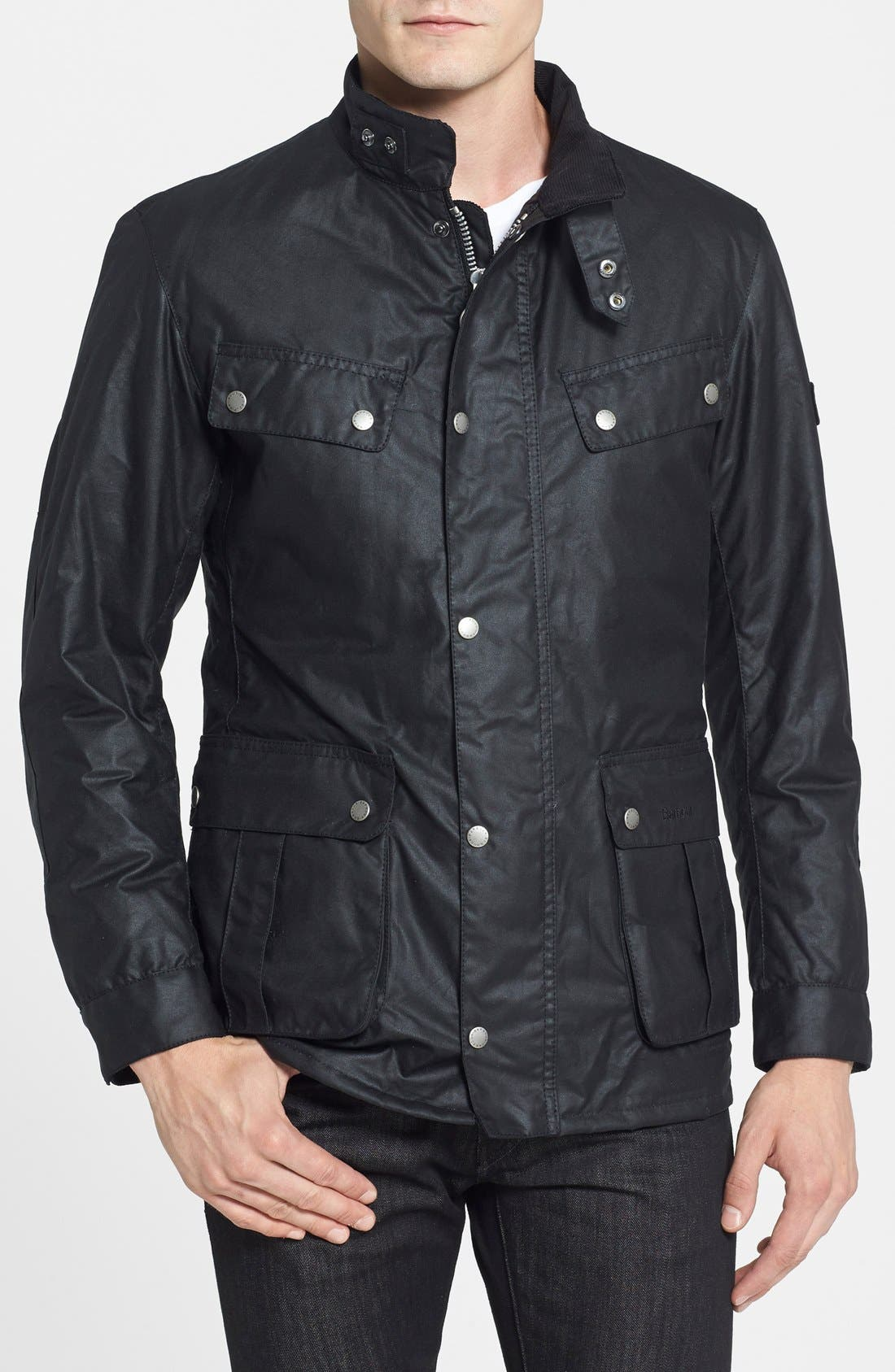 'Duke' Regular Fit Waterproof Waxed Cotton Jacket,                         Main,                         color, Black