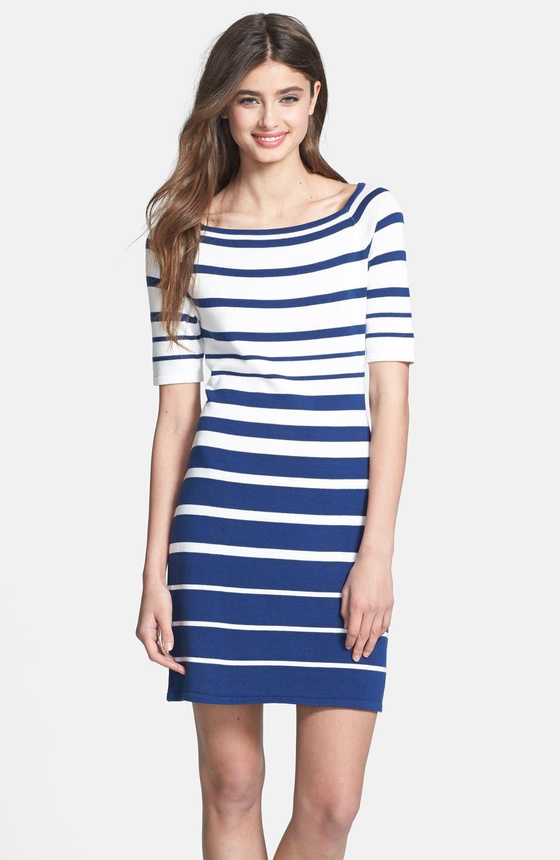 Alternate Image 1 Selected - Trina Trina Turk 'Olive' Stripe Sweater Dress