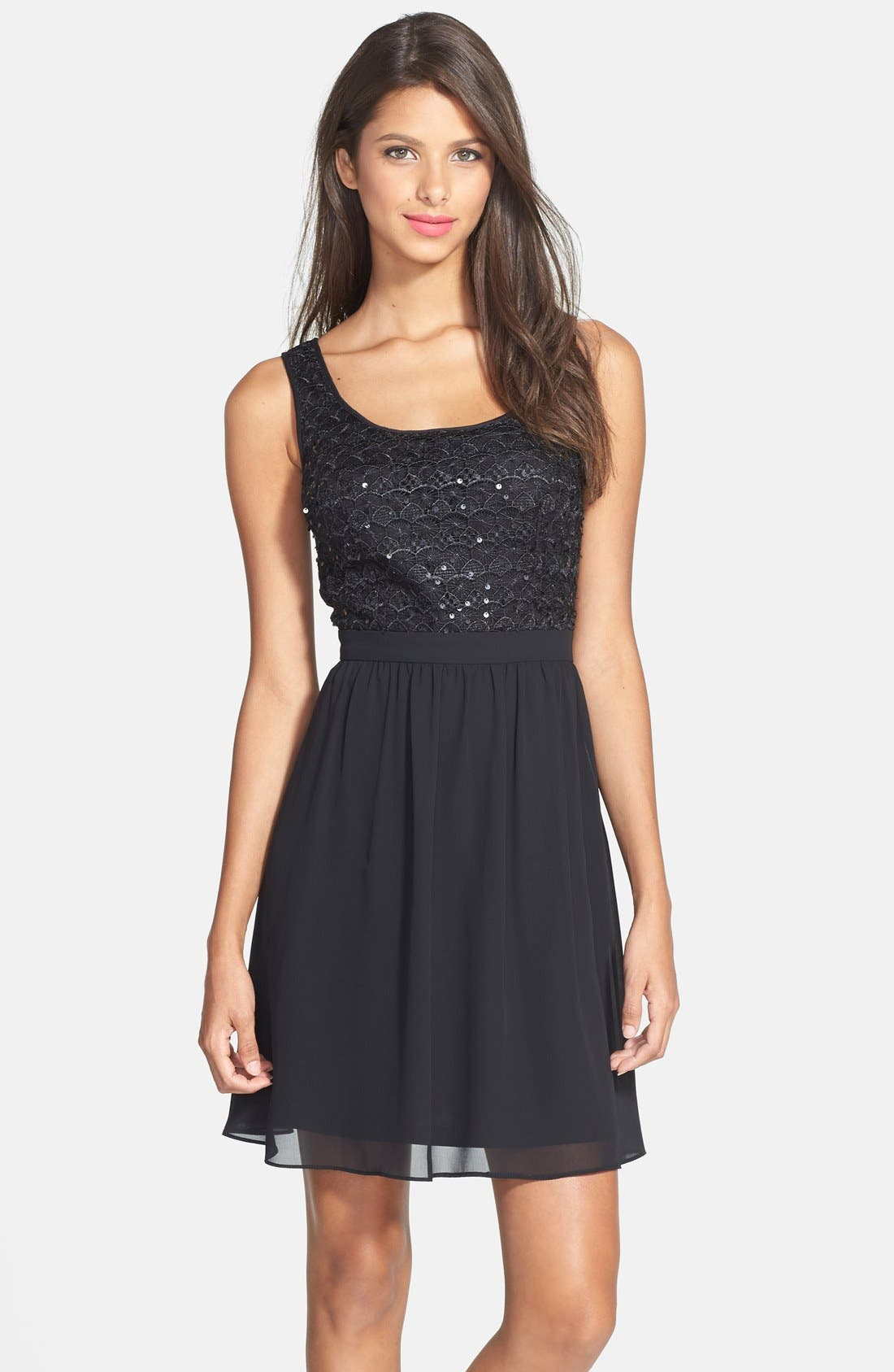 Main Image - Hailey by Adrianna Papell Sequin Lace Illusion Fit & Flare Dress