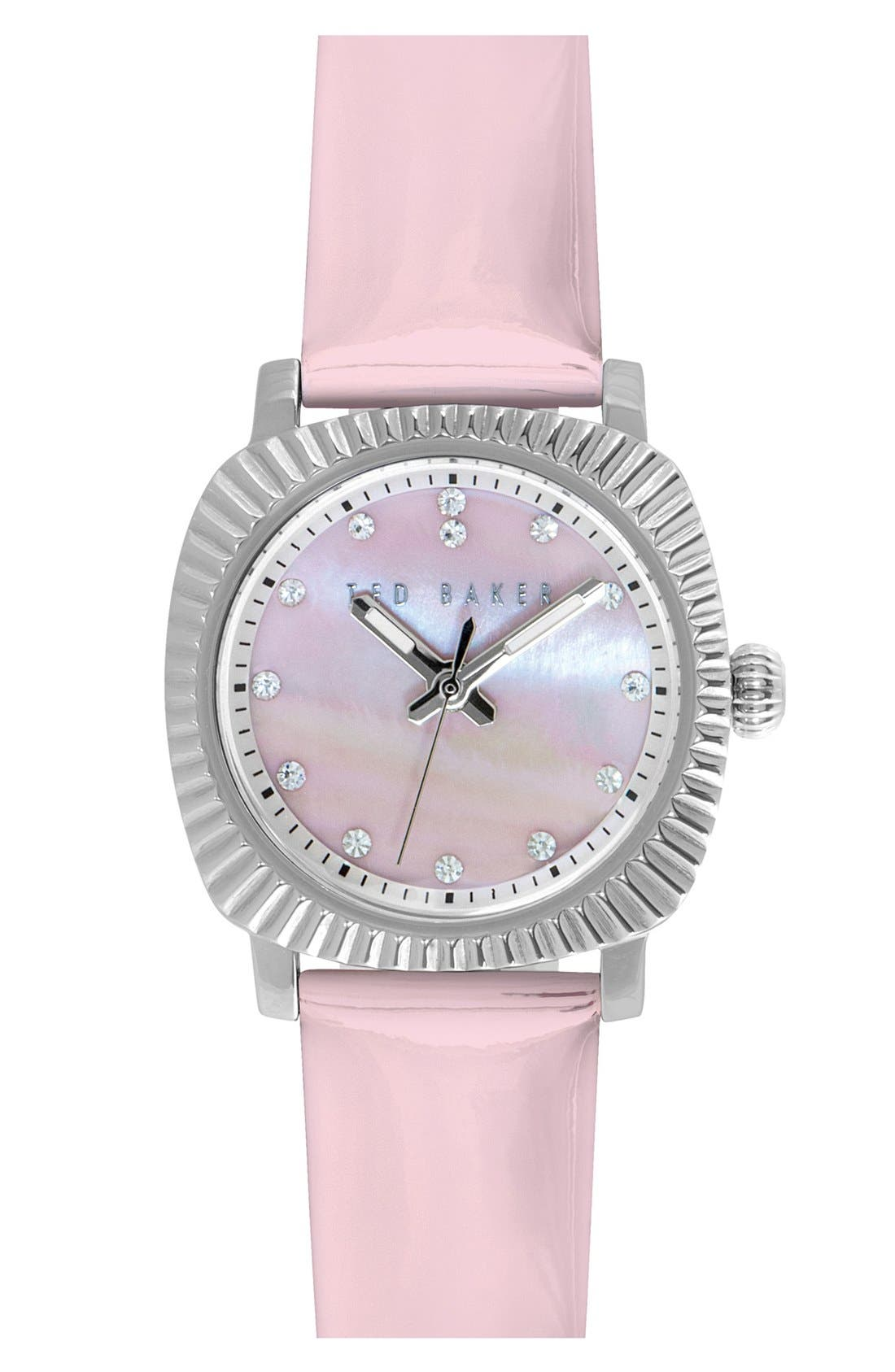 Ted Baker London 'Mini Jewels' Crystal Index Patent Leather Strap Watch, 26mm