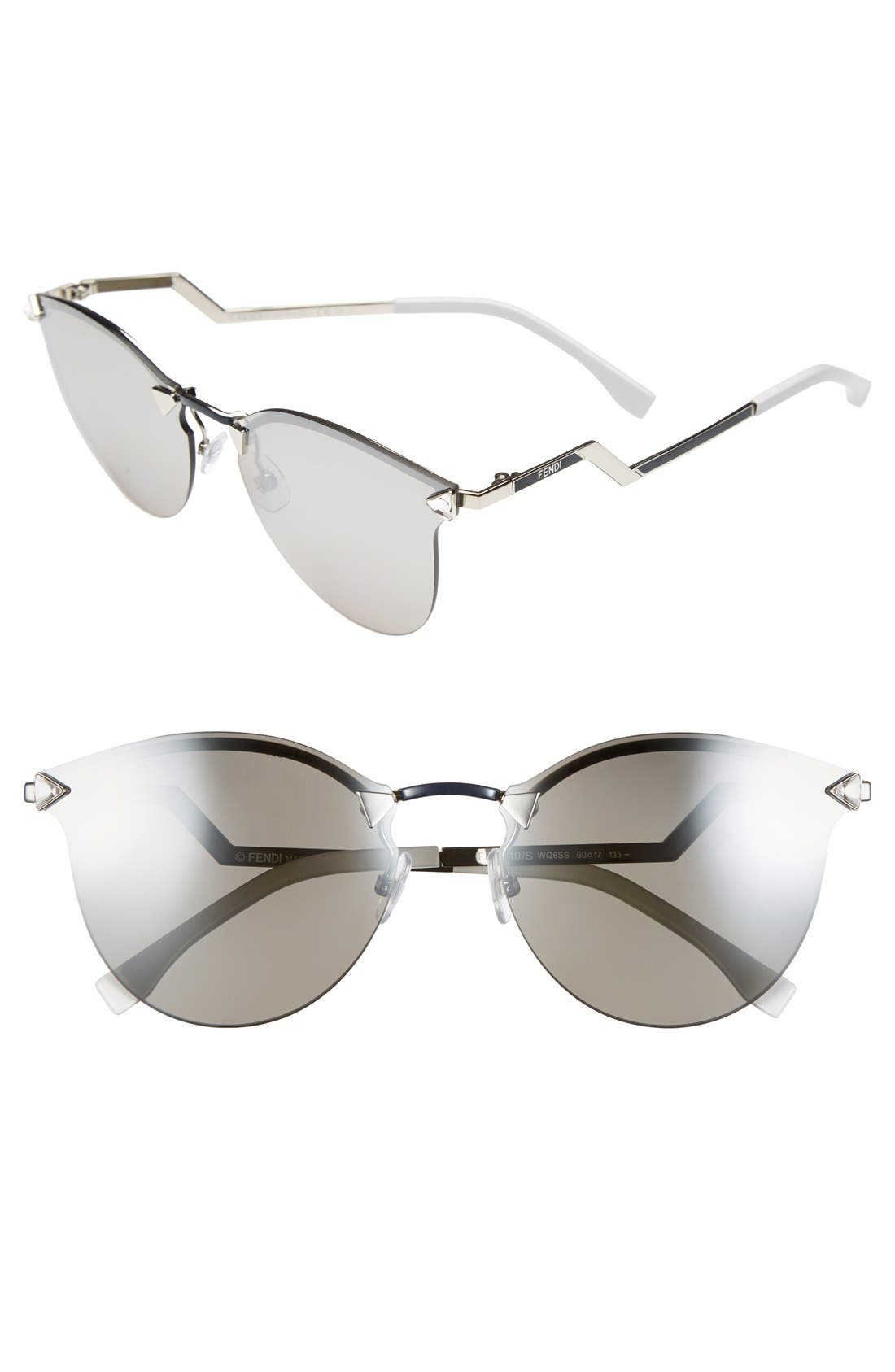 60mm Retro Sunglasses,                             Main thumbnail 1, color,                             Palladium/ Silver Mirror