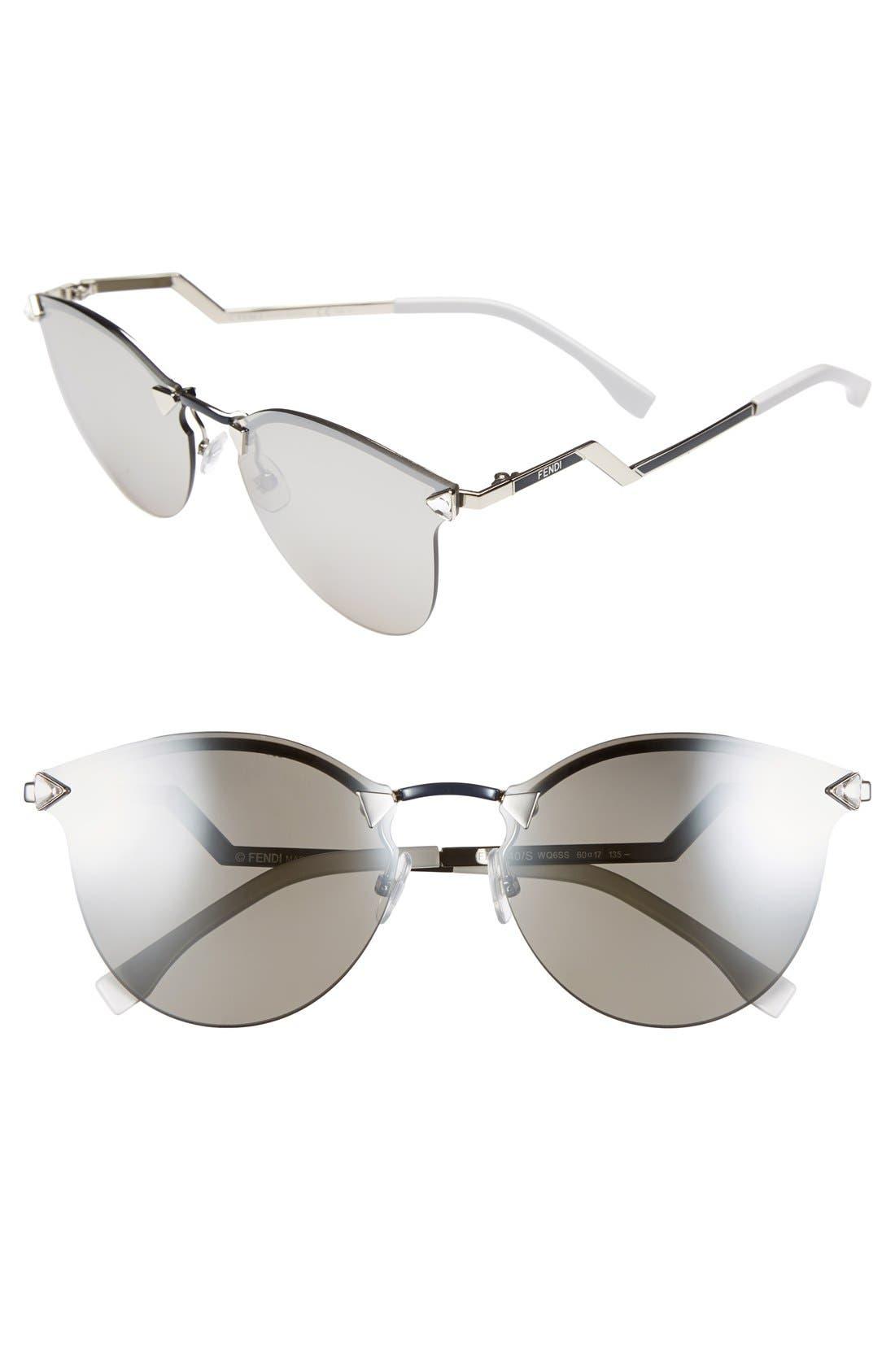 60mm Retro Sunglasses,                         Main,                         color, Palladium/ Silver Mirror