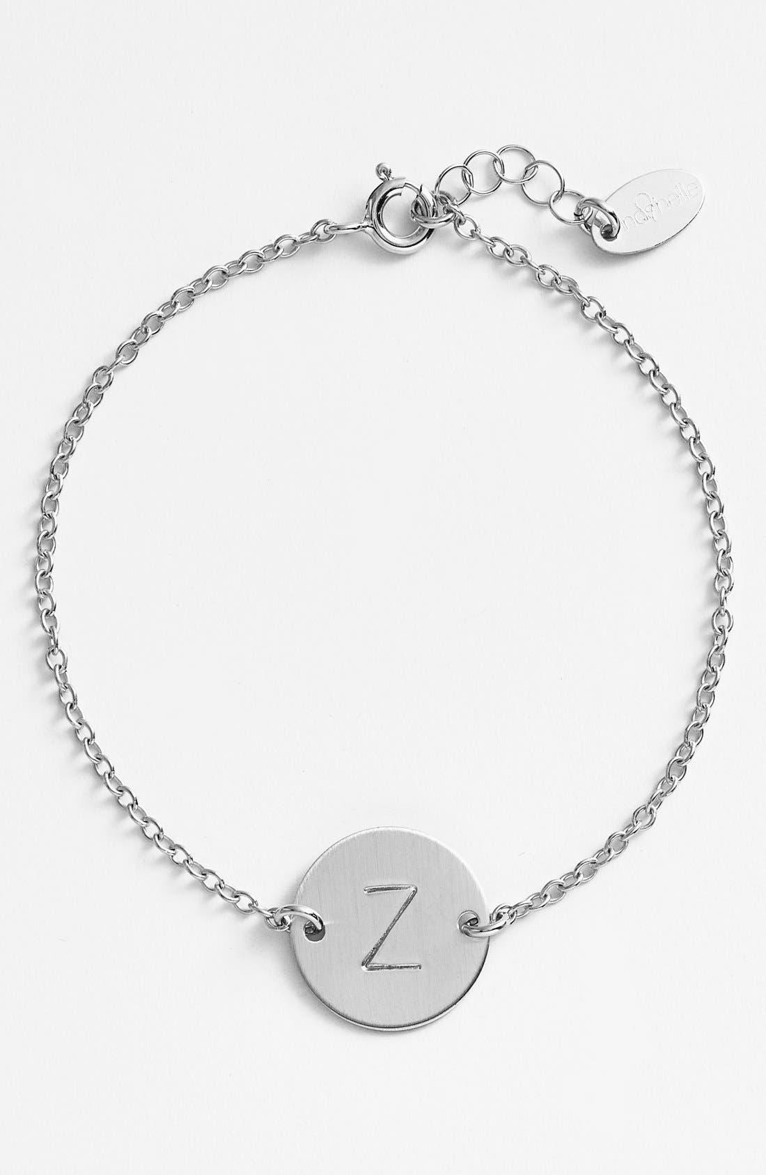 Sterling Silver Initial Disc Bracelet,                         Main,                         color, Sterling Silver Z