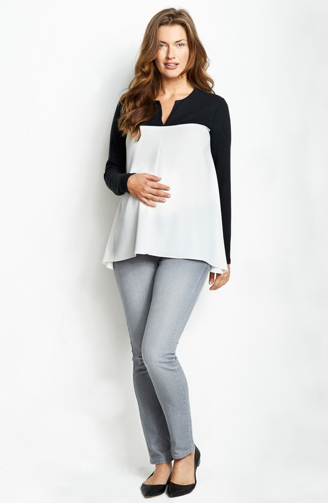 Baby Doll Maternity Top,                         Main,                         color, Black/ White