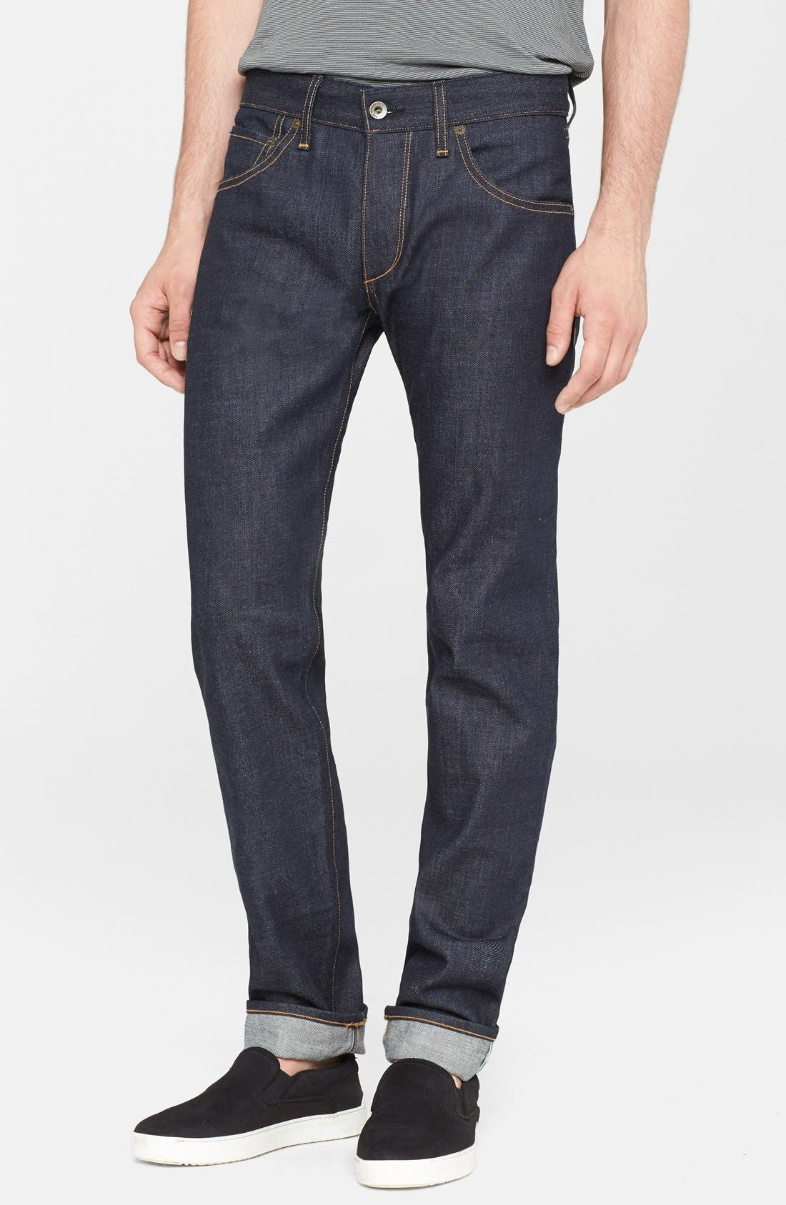 Alternate Image 1 Selected - rag & bone Standard Issue Fit 2 Slim Fit Raw Selvedge Jeans (Indigo)