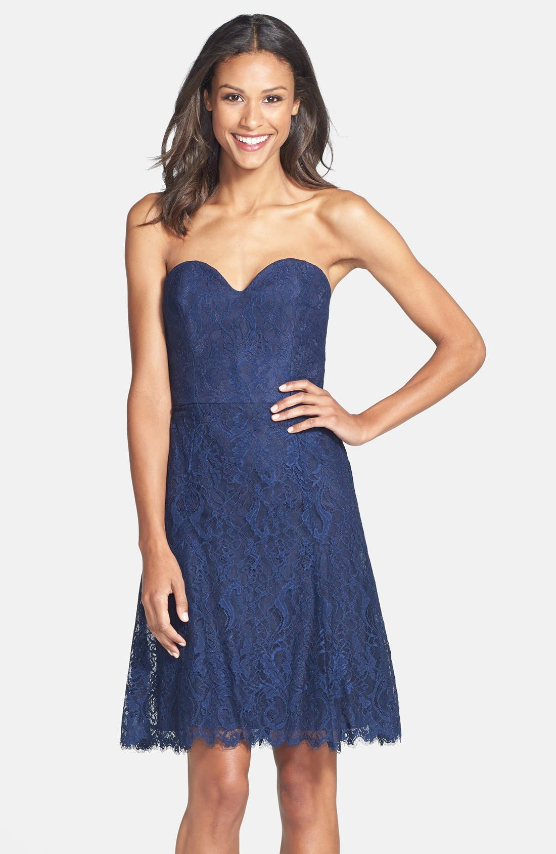 Jim Hjelm Occasions Strapless Lace A-Line Dress