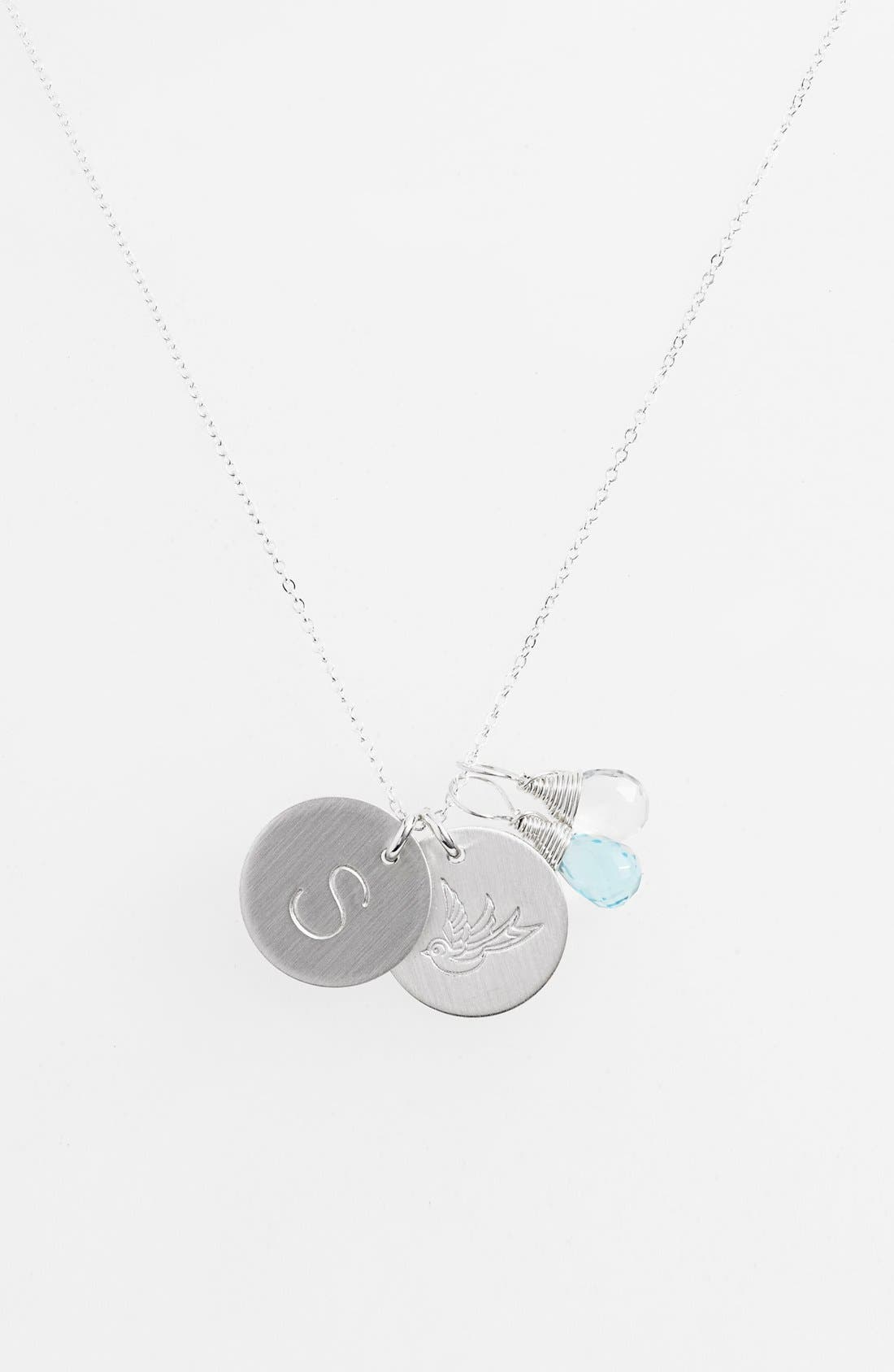 Nashelle Ocean Blue & Crystal Swallow Sterling Silver Initial Disc Necklace