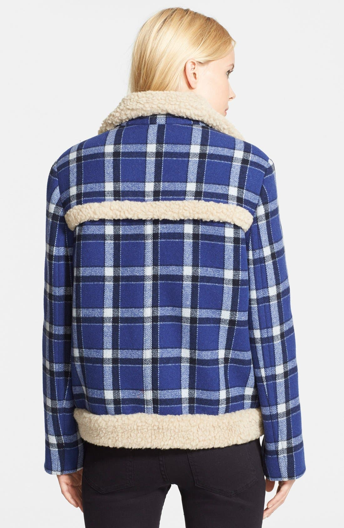 Alternate Image 2  - MARC BY MARC JACOBS Faux Fur Trim Check Wool Jacket