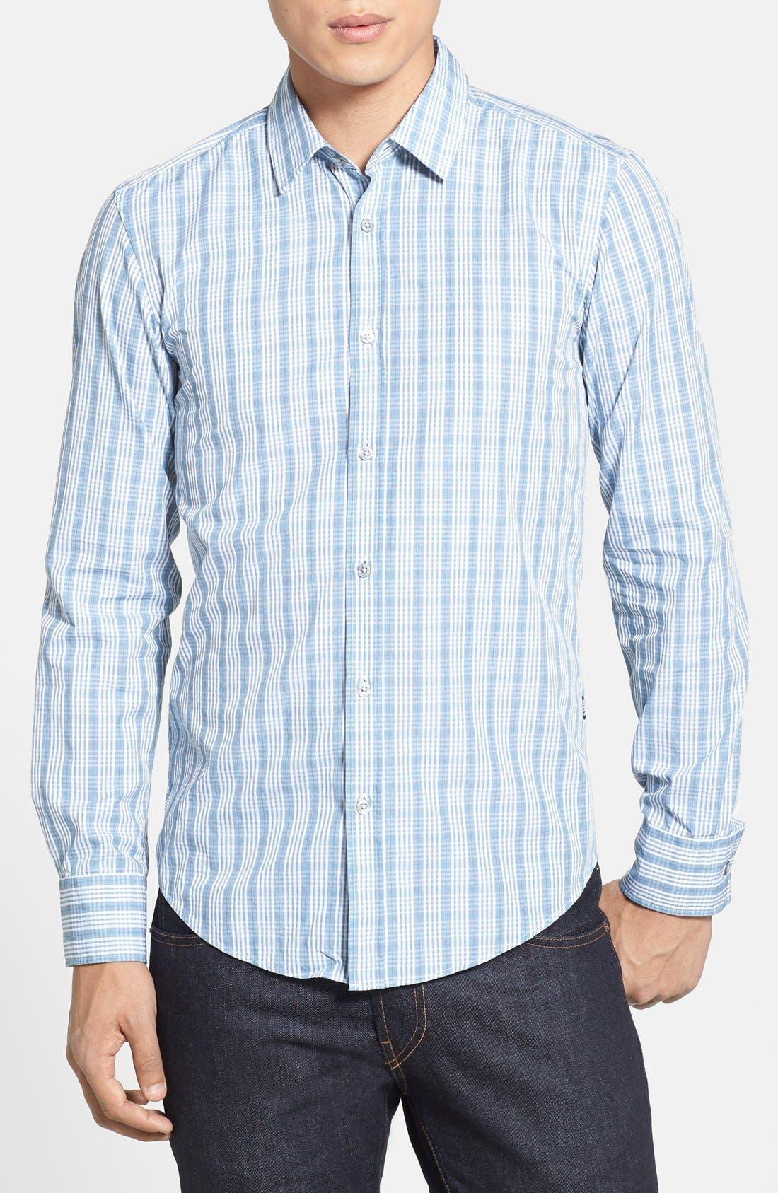 Alternate Image 1 Selected - BOSS HUGO BOSS 'Ronny' Slim Fit Plaid Sport Shirt