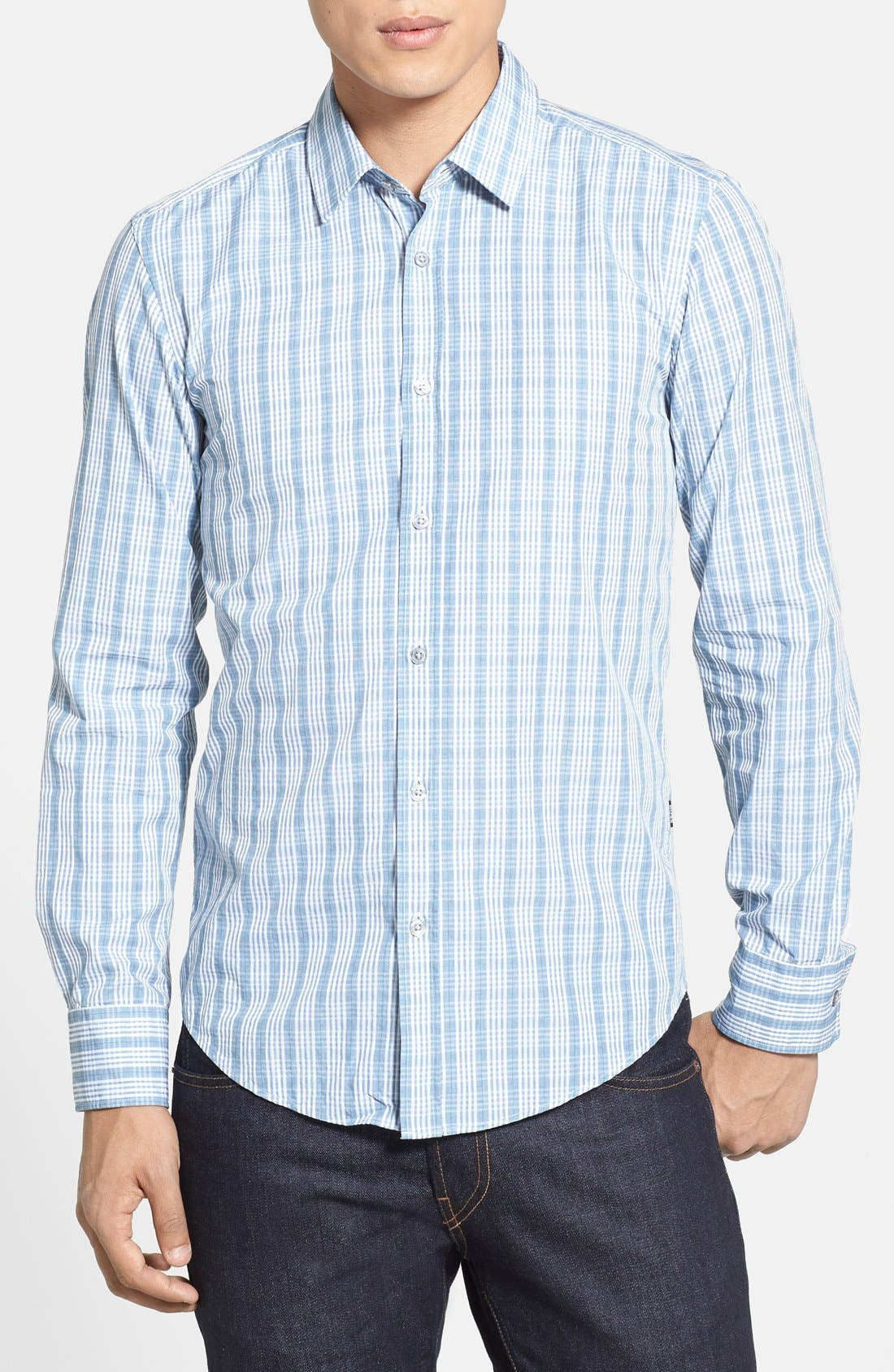 Main Image - BOSS HUGO BOSS 'Ronny' Slim Fit Plaid Sport Shirt
