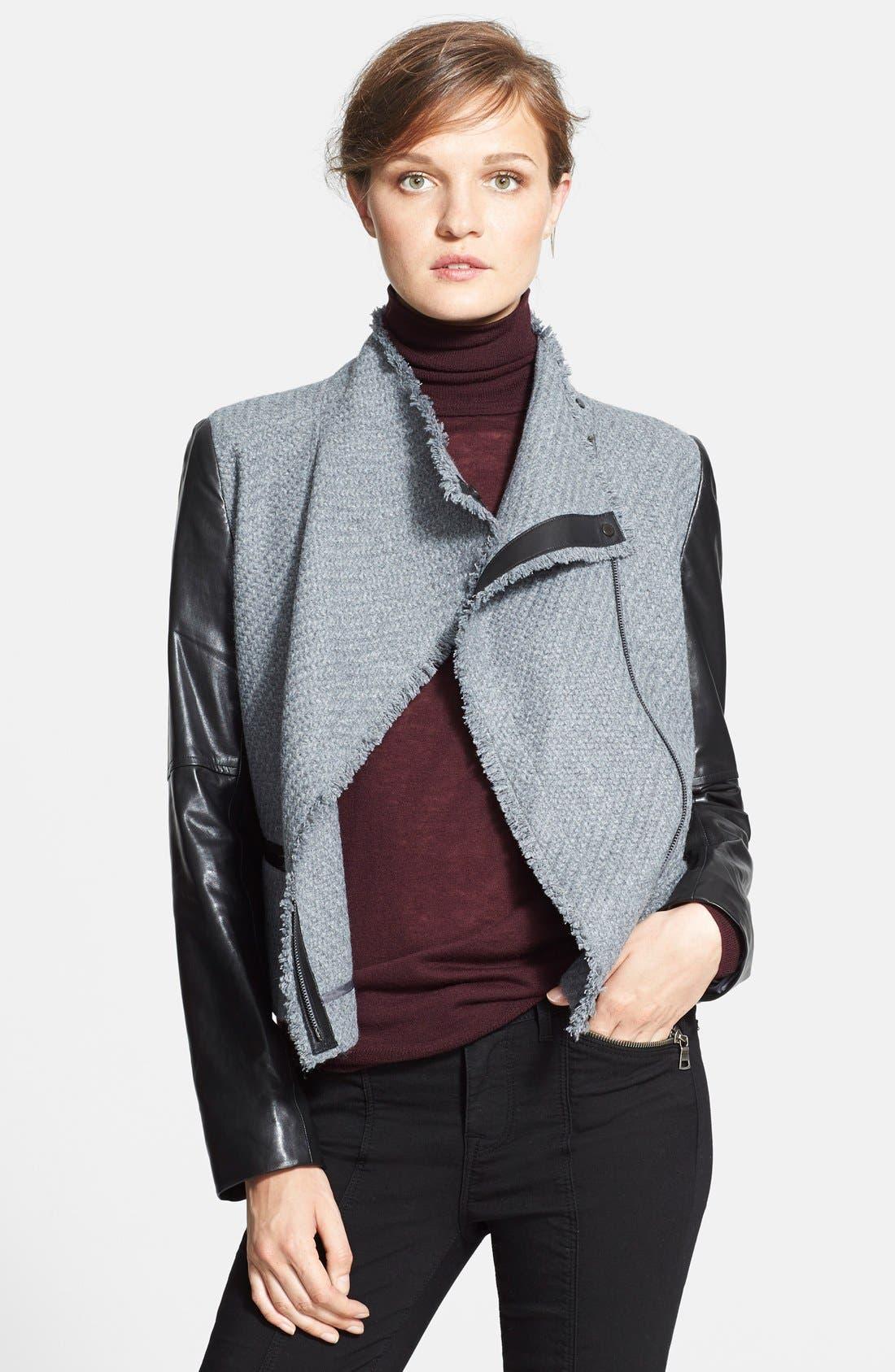 Main Image - Vince Bouclé Scuba Jacket with Leather Sleeves