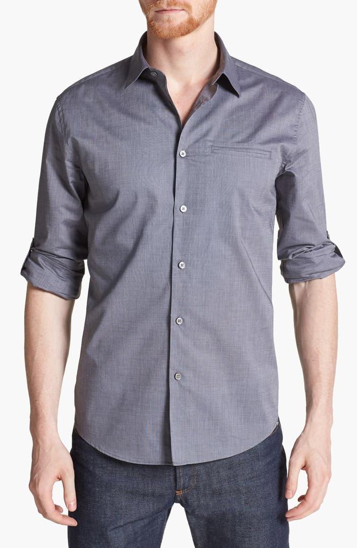 John varvatos collection slim fit cotton woven shirt for Slim fit cotton shirts