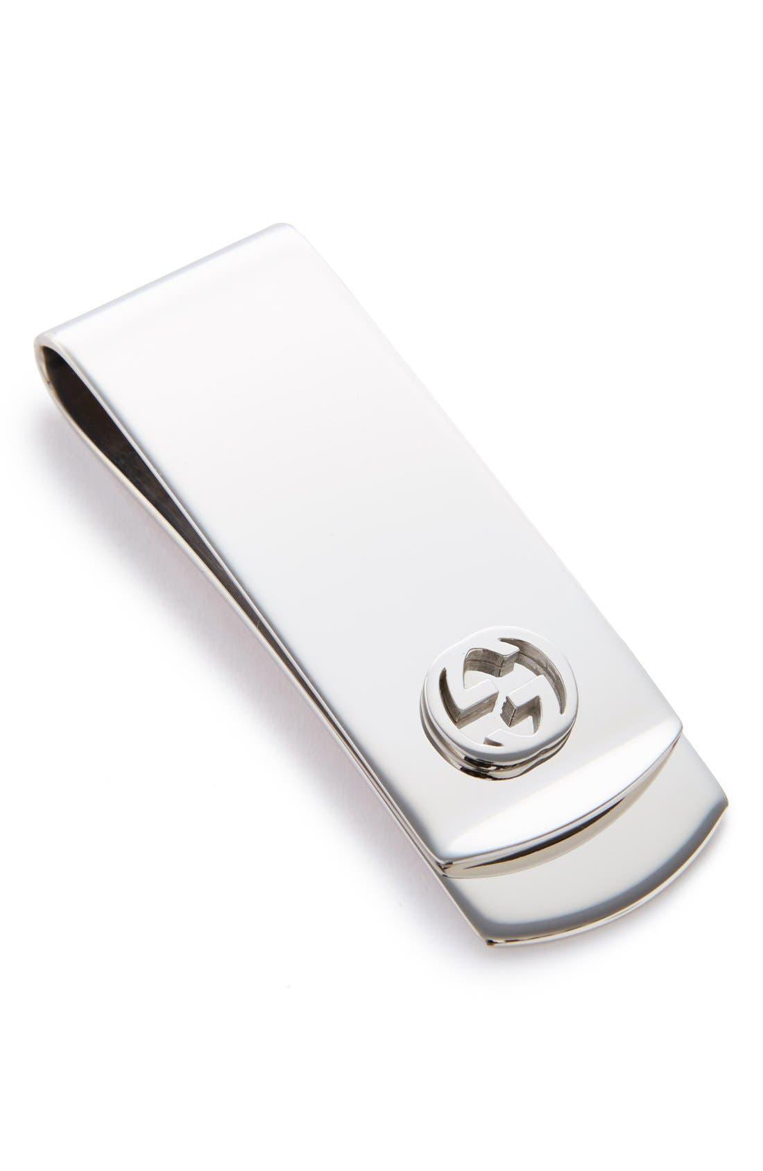 'Interlocking G' Money Clip,                         Main,                         color, Silver