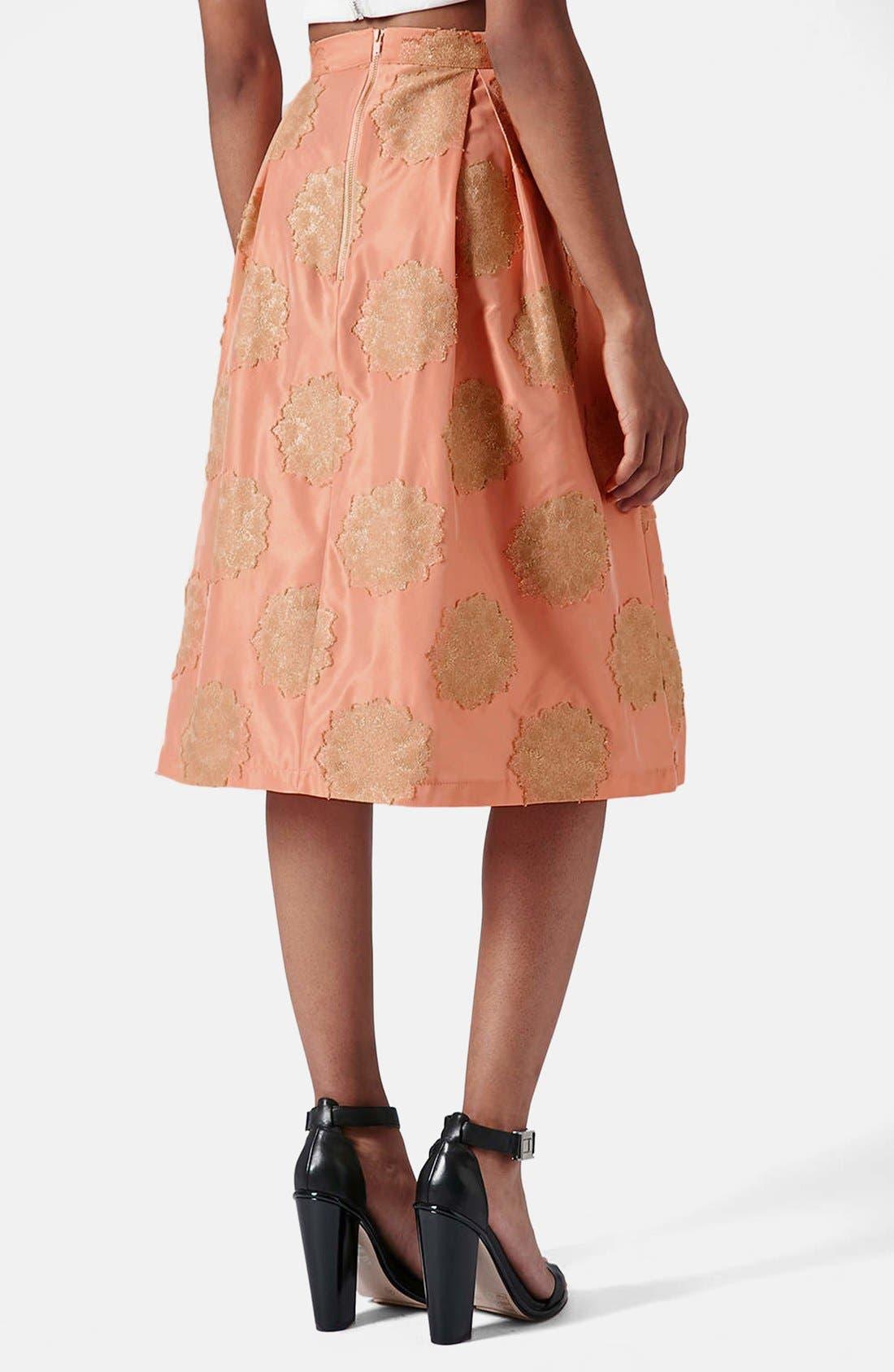 Alternate Image 2  - Topshop Metallic Lace Jacquard Midi Skirt