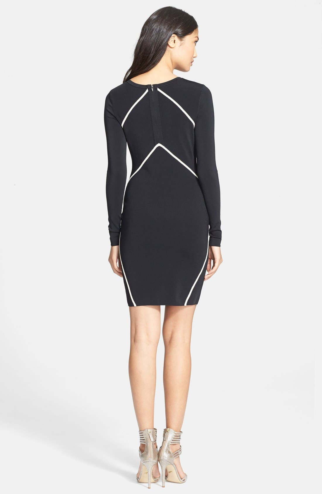 'Josephine' Knit Long Sleeve Sheath Dress,                             Alternate thumbnail 2, color,                             Black/Ivory