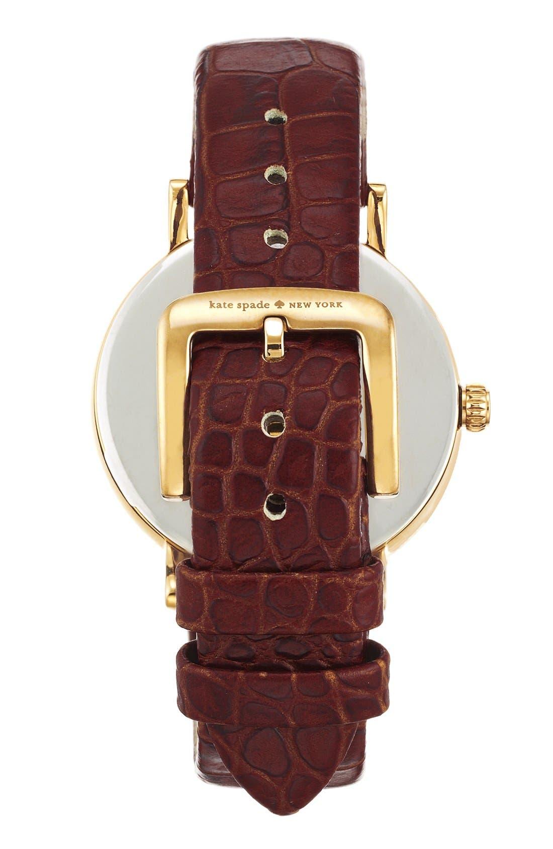 Alternate Image 2  - kate spade new york 'metro' embossed leather strap watch, 34mm