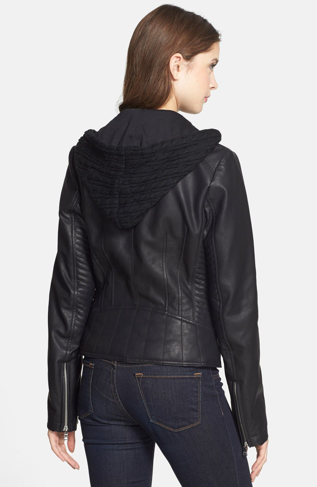 Alternate Image 2  - GUESS Faux Leather Moto Jacket with Cable Knit Hooded Bib Inset (Online Only)