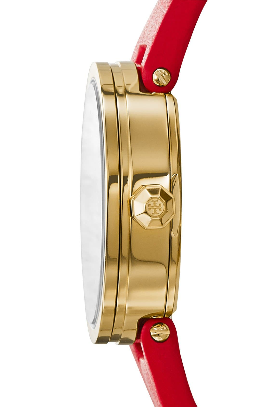 Alternate Image 3  - Tory Burch 'Reva' Logo Dial Leather Strap Watch, 28mm
