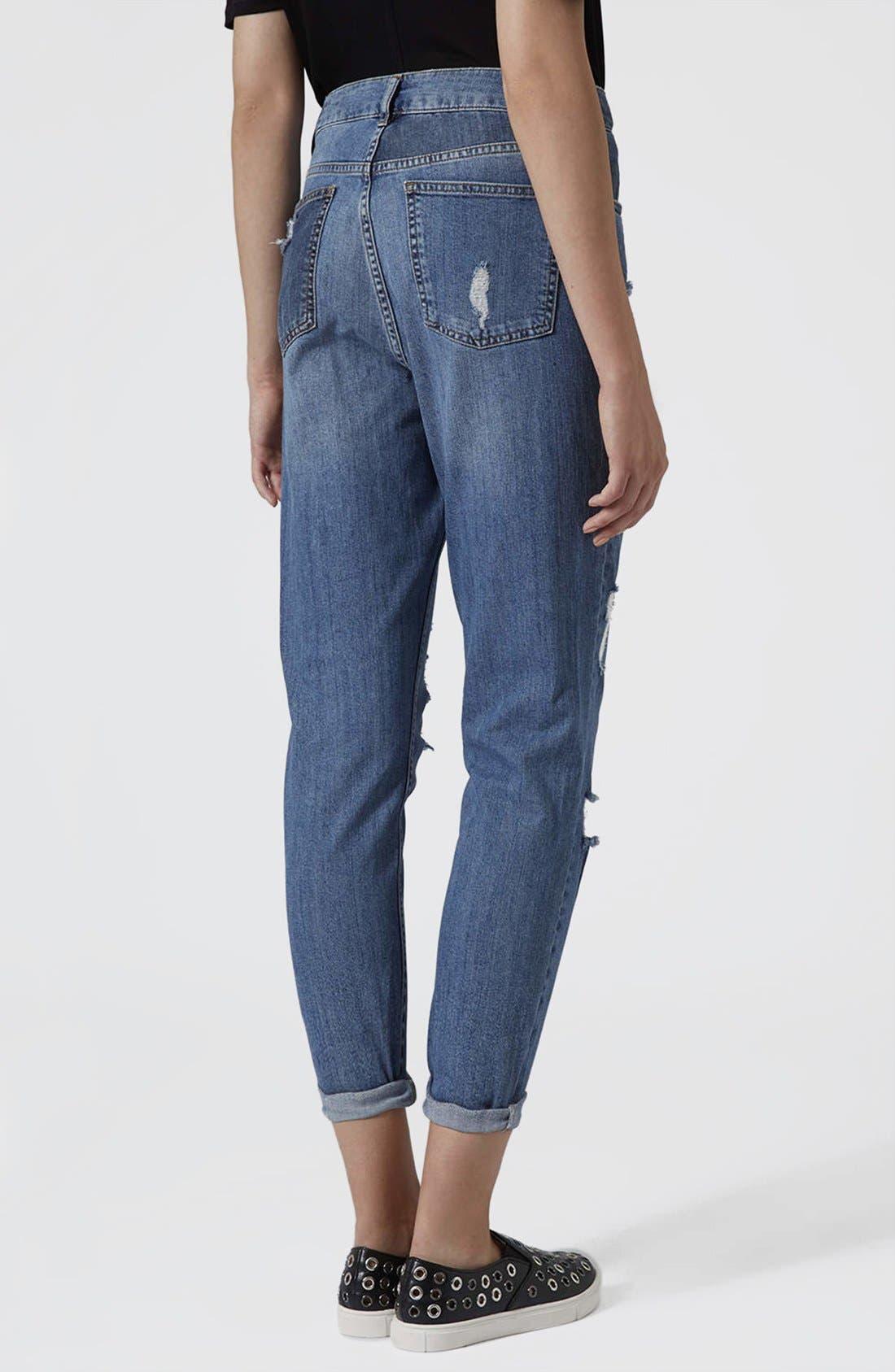 Alternate Image 2  - Topshop Moto Reclaim To Wear High Waist Tapered Jeans (Mid Denim)