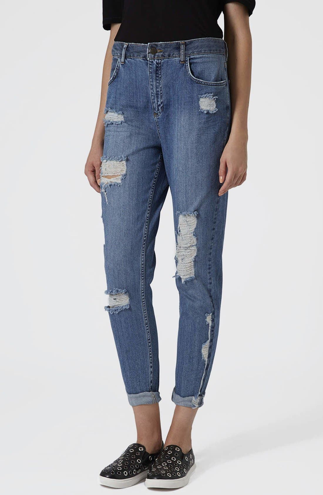 Alternate Image 1 Selected - Topshop Moto Reclaim To Wear High Waist Tapered Jeans (Mid Denim)