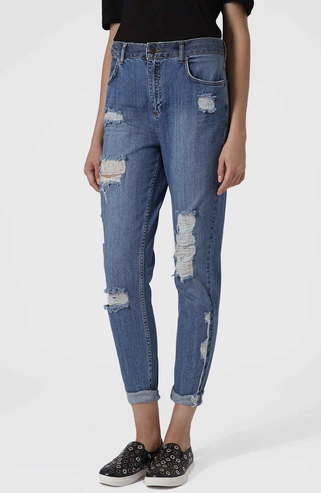 Main Image - Topshop Moto Reclaim To Wear High Waist Tapered Jeans (Mid Denim)