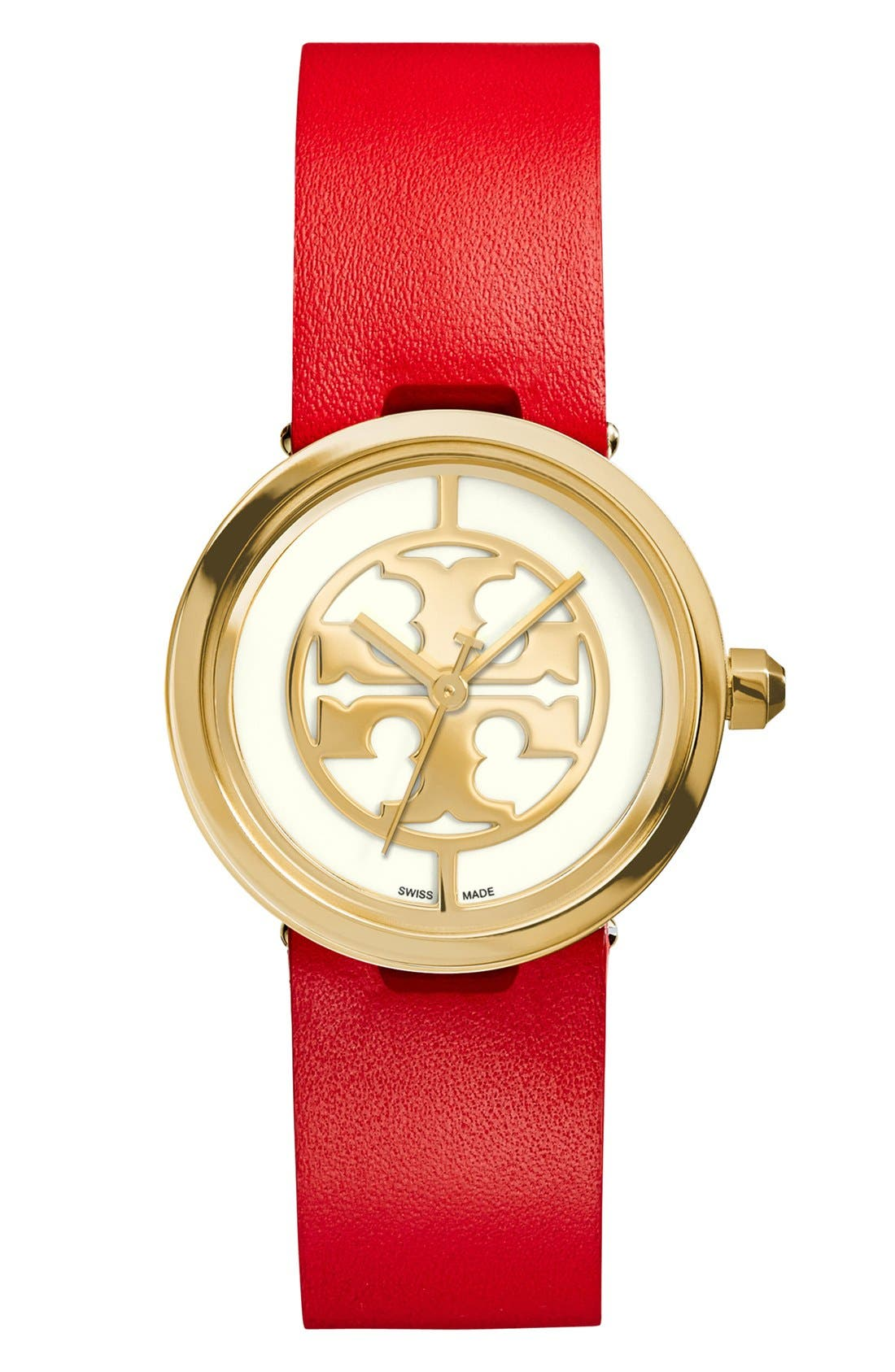 Main Image - Tory Burch 'Reva' Logo Dial Leather Strap Watch, 28mm