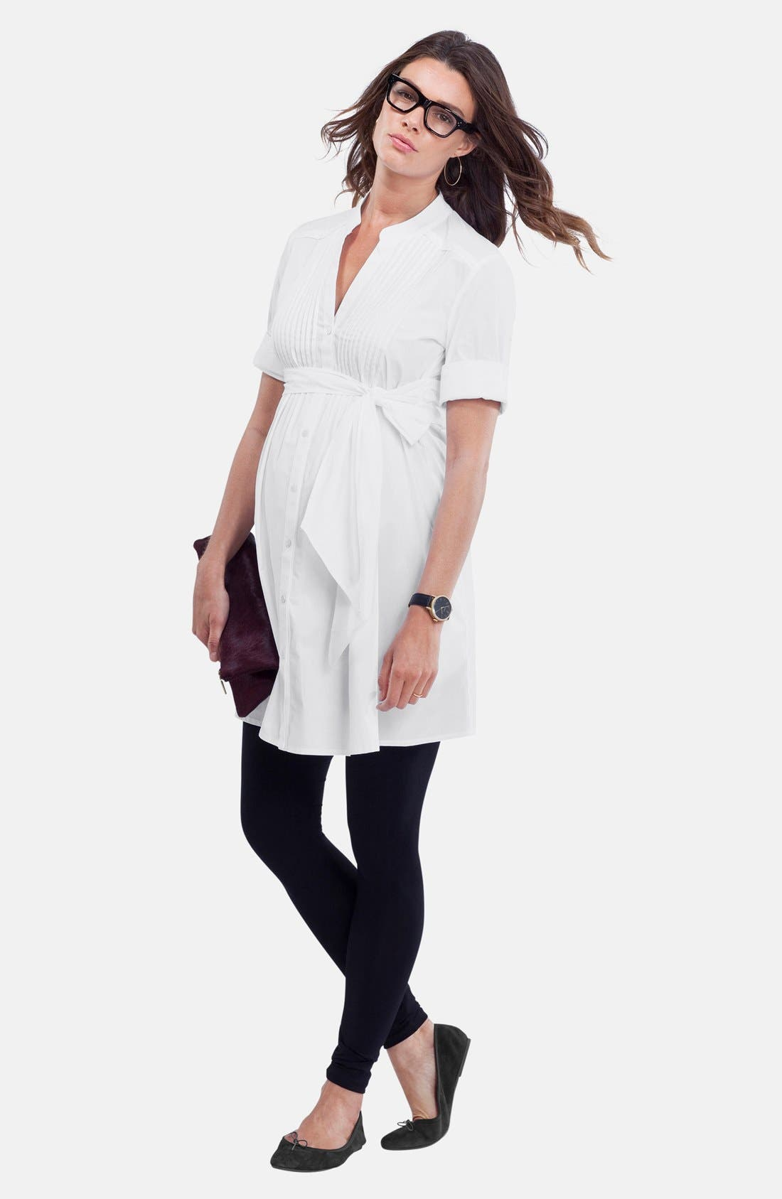 'Libby' Pleated Maternity Tunic,                             Alternate thumbnail 4, color,                             Pure White
