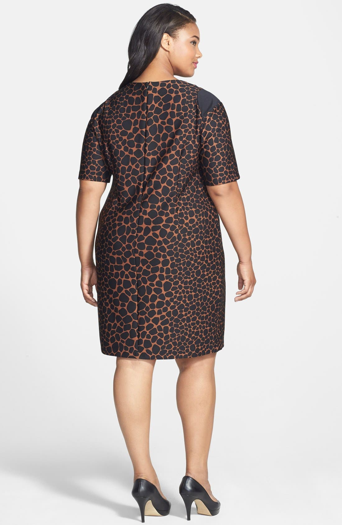 Animal Print Scuba Knit Dress,                             Alternate thumbnail 2, color,                             Cocoa/ Black