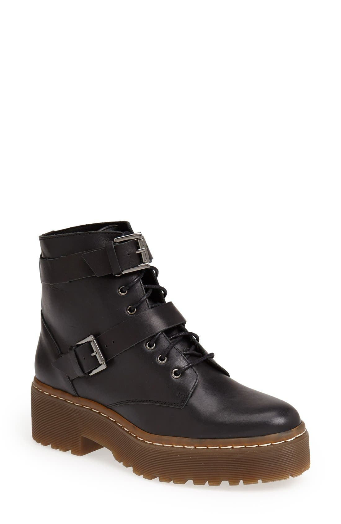 Alternate Image 1 Selected - Topshop 'Auction' Lace-Up Platform Boot (Women)