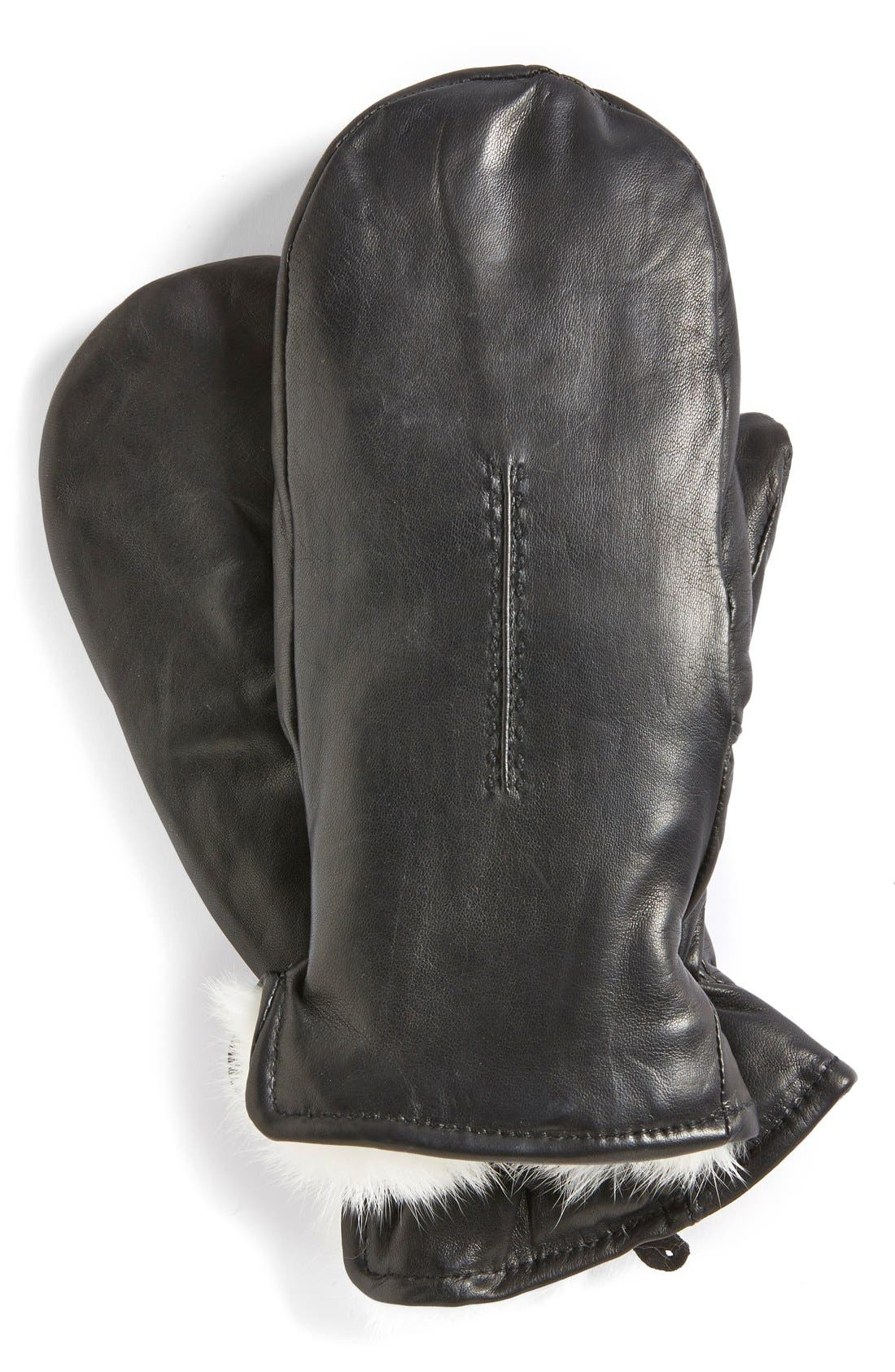 Fownes Brothers Genuine Rabbit Fur Lined Leather Mittens