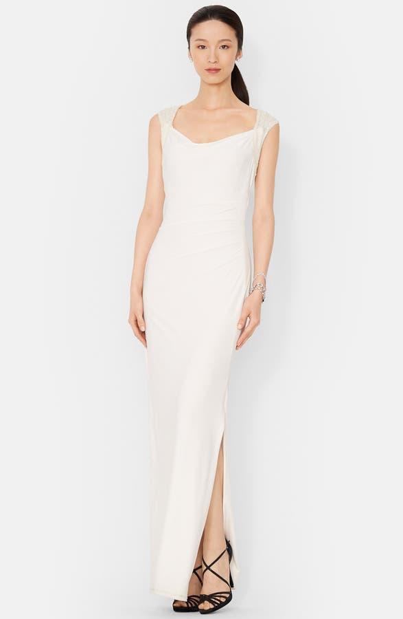 Lauren Ralph Lauren Sequin Cowl Neck Jersey Gown | Nordstrom
