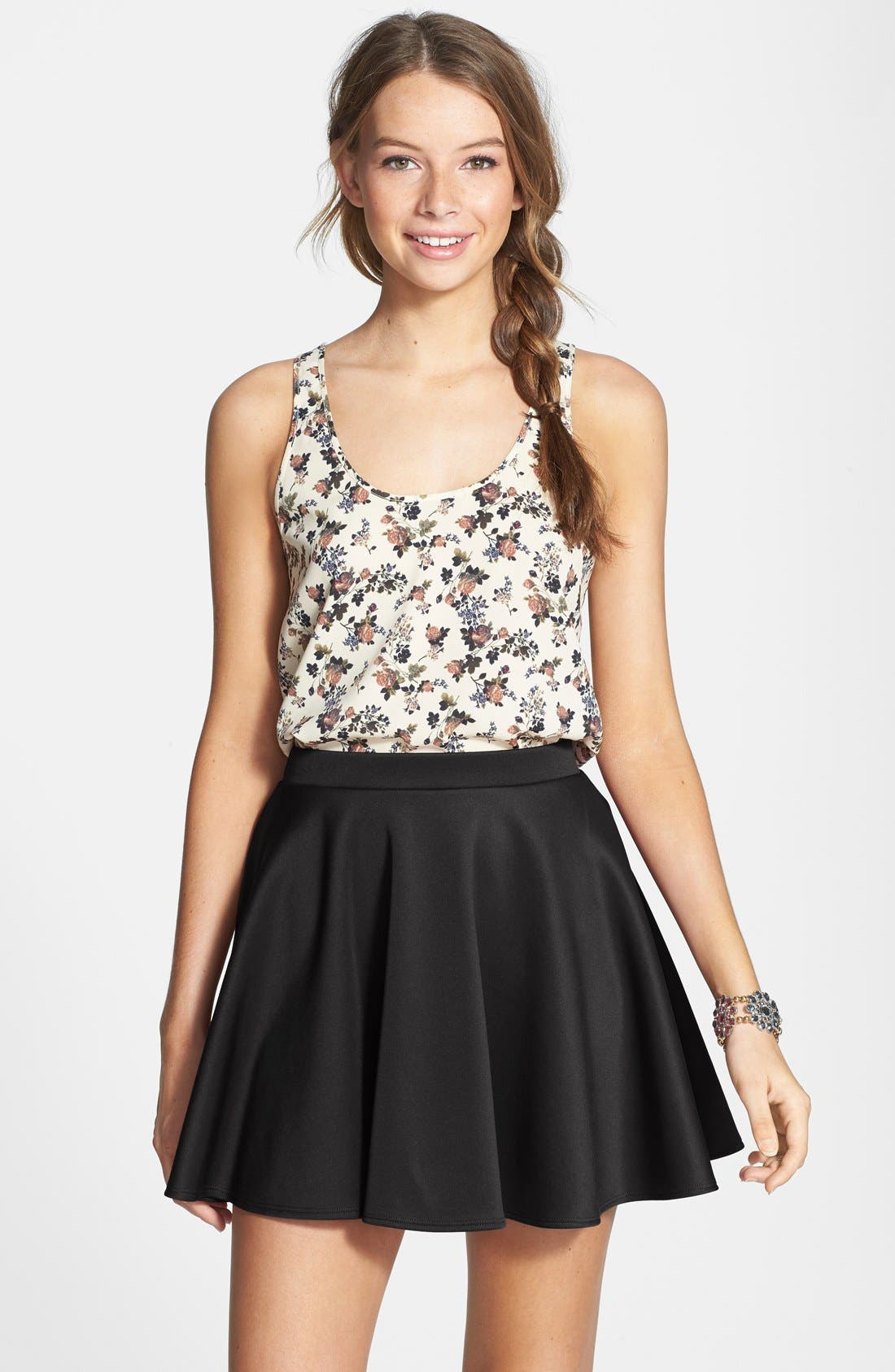 Alternate Image 1 Selected - Frenchi Skater Skirt (Juniors)