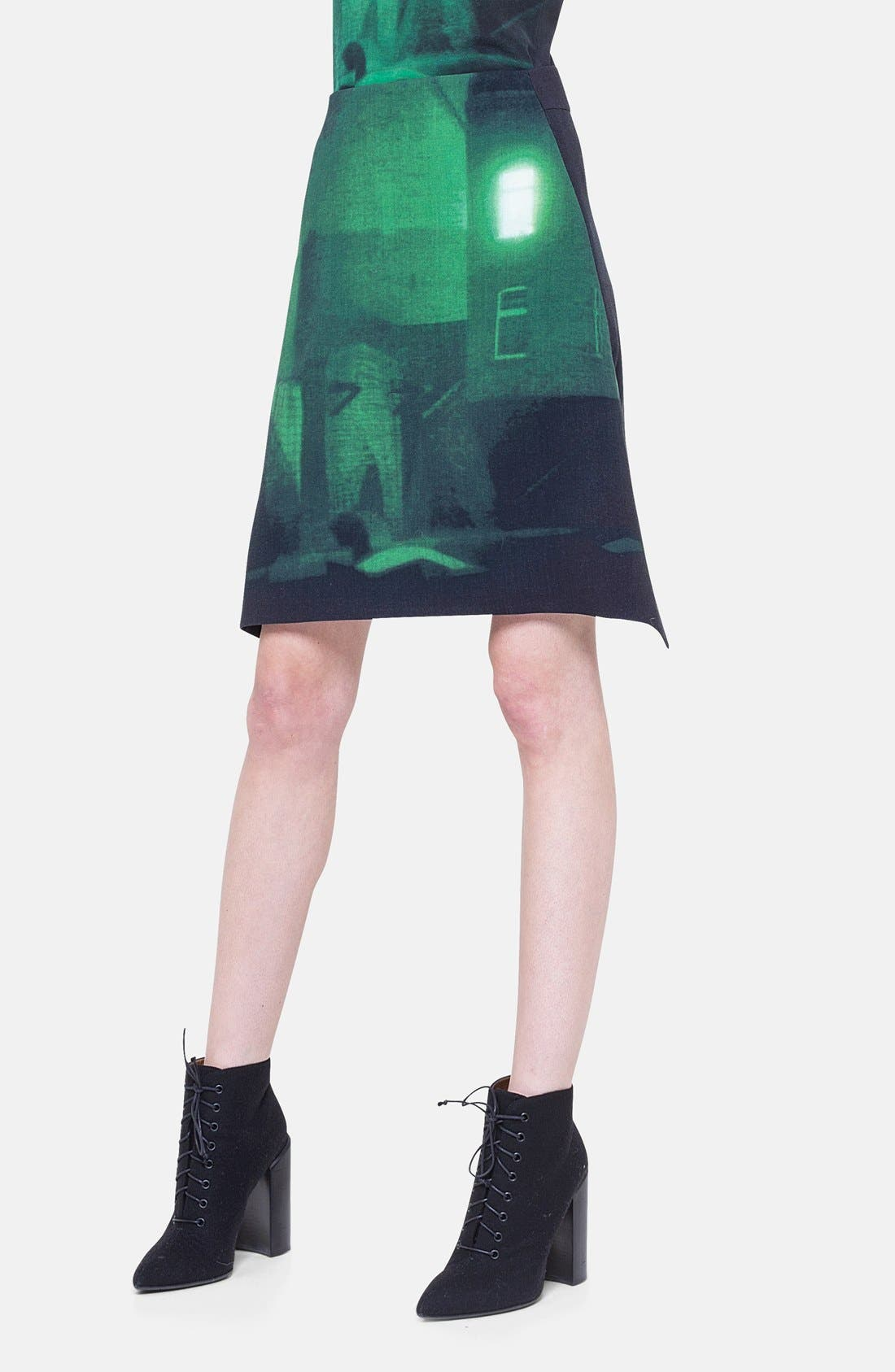 Main Image - Akris Print Double Face Wool Blend Skirt
