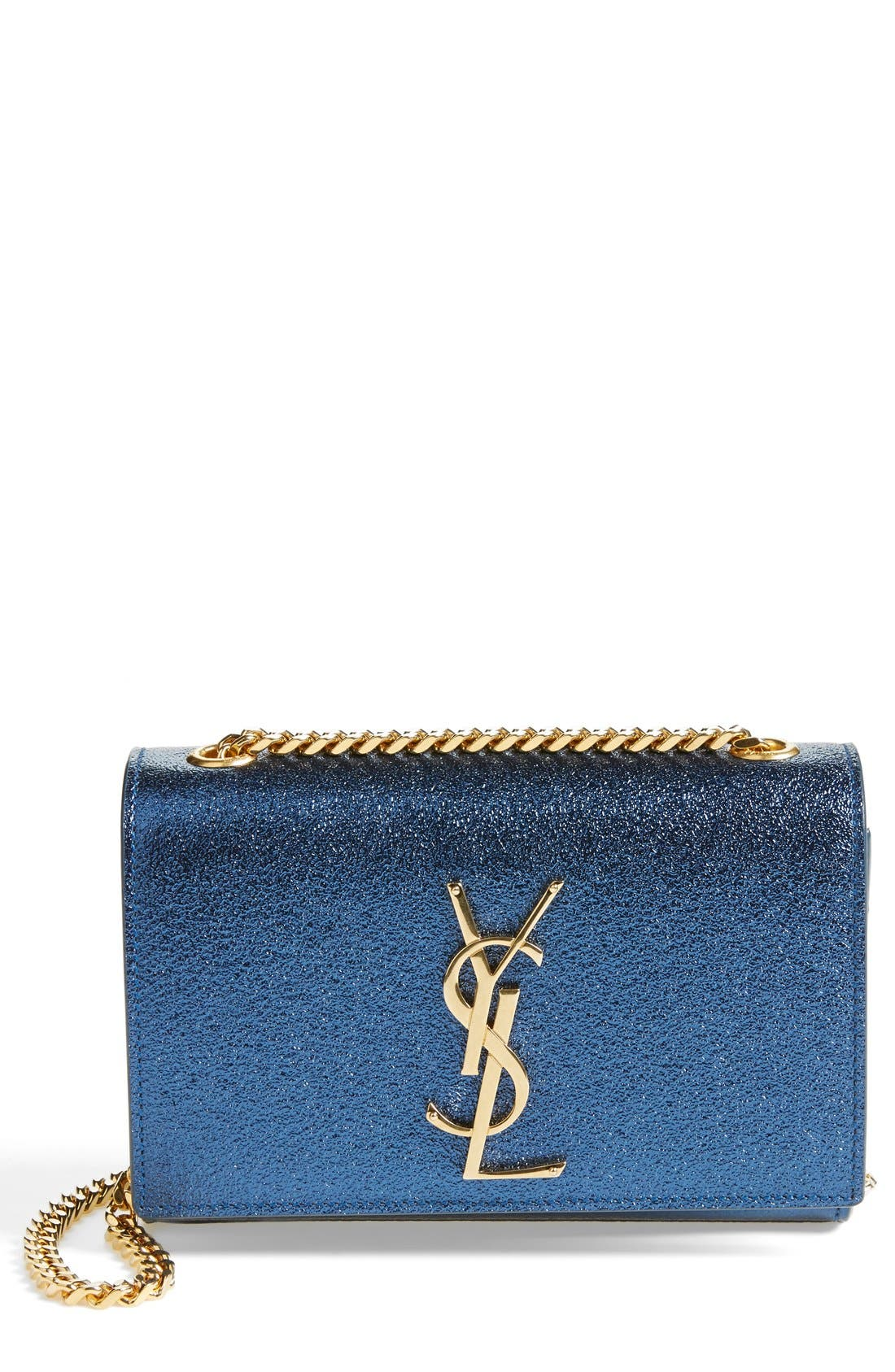 'Small Monogram' Crossbody Bag,                             Main thumbnail 1, color,                             Bleu Metallise