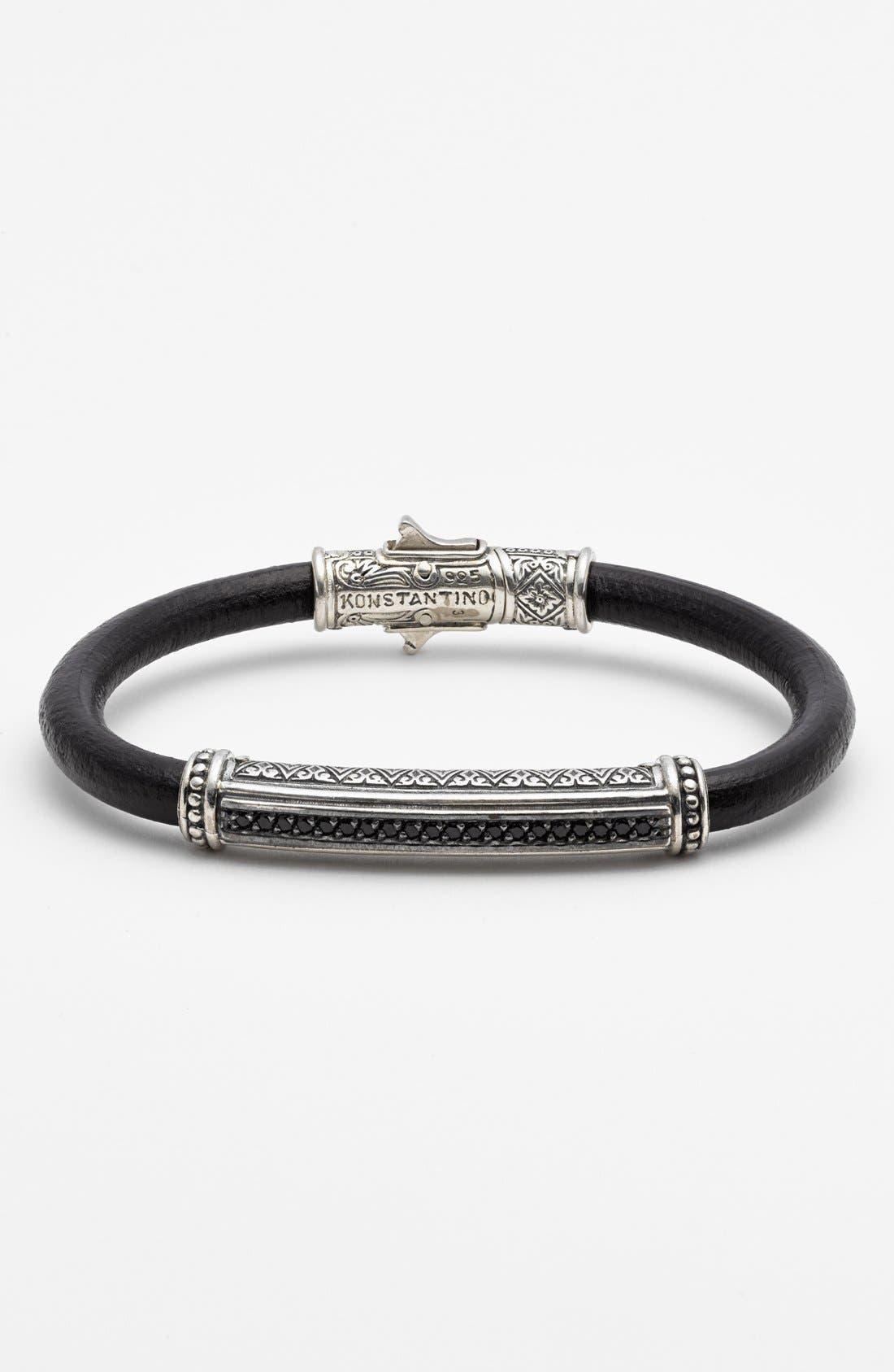 'Plato' Leather Bracelet,                             Main thumbnail 1, color,                             Silver