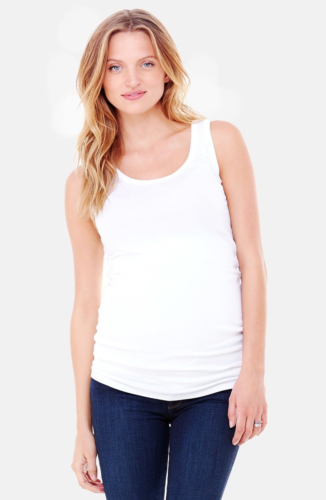 Scoop Neck Maternity Tank,                             Main thumbnail 1, color,                             Bright White