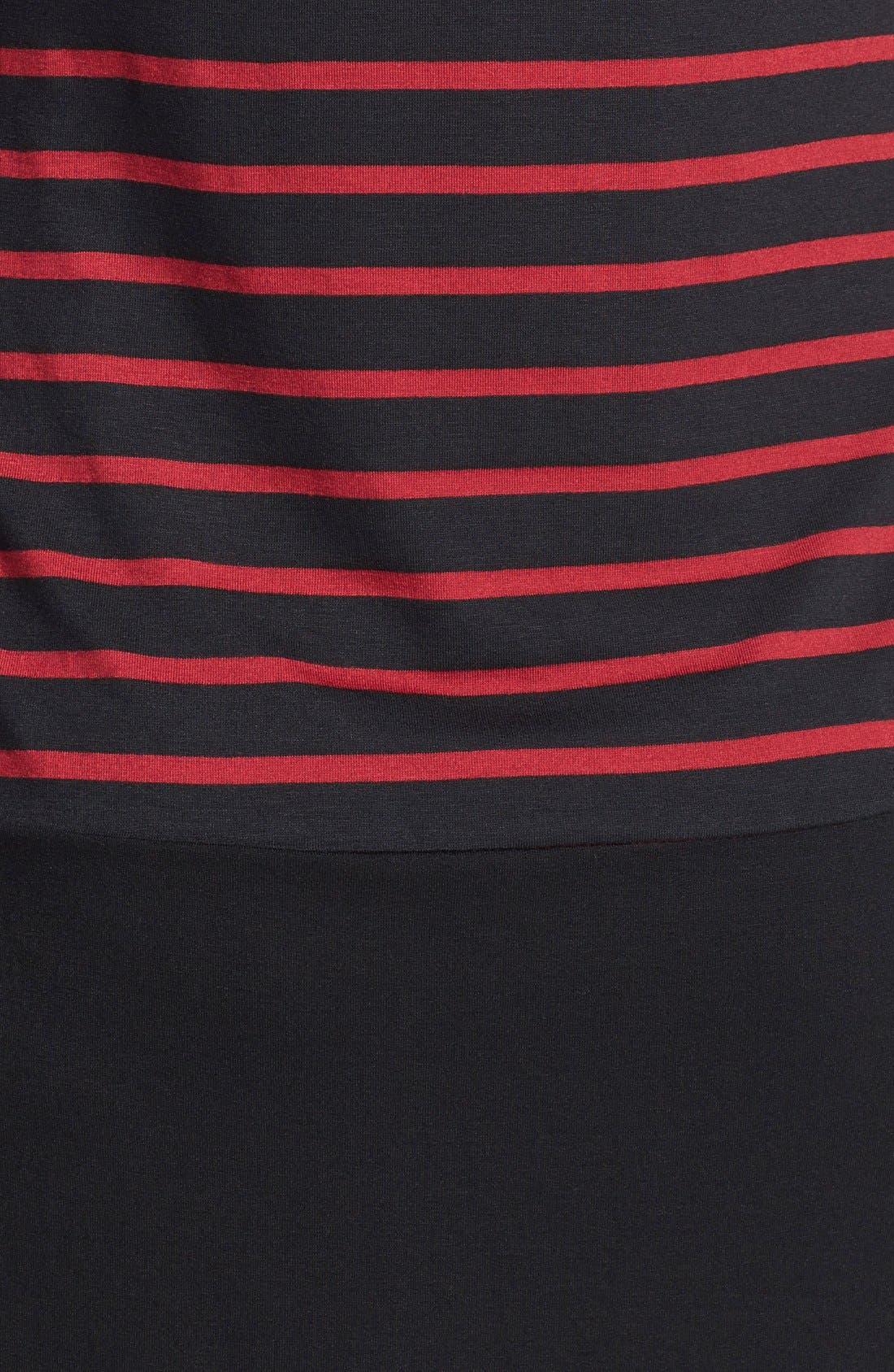 Keyhole Maternity Dress,                             Alternate thumbnail 2, color,                             Black/ Wine Stripes