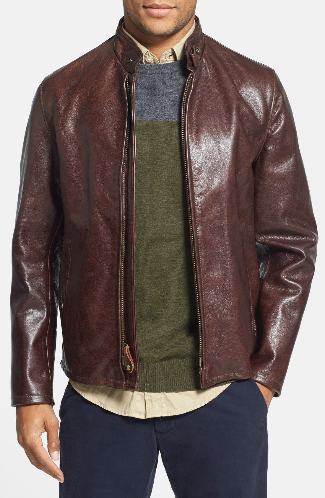 Schott NYC 'Casual Café Racer' Slim Fit Leather Jacket