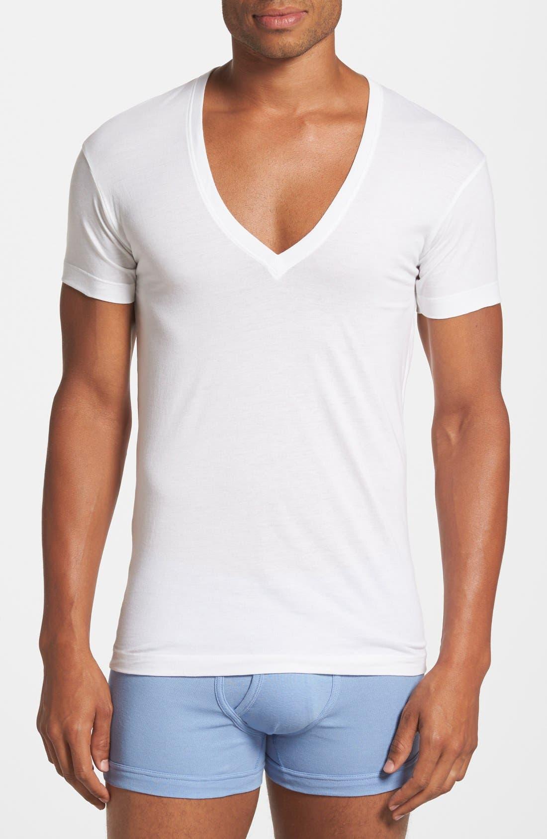 Slim Fit Pima Cotton Deep V-Neck T-Shirt,                         Main,                         color, White