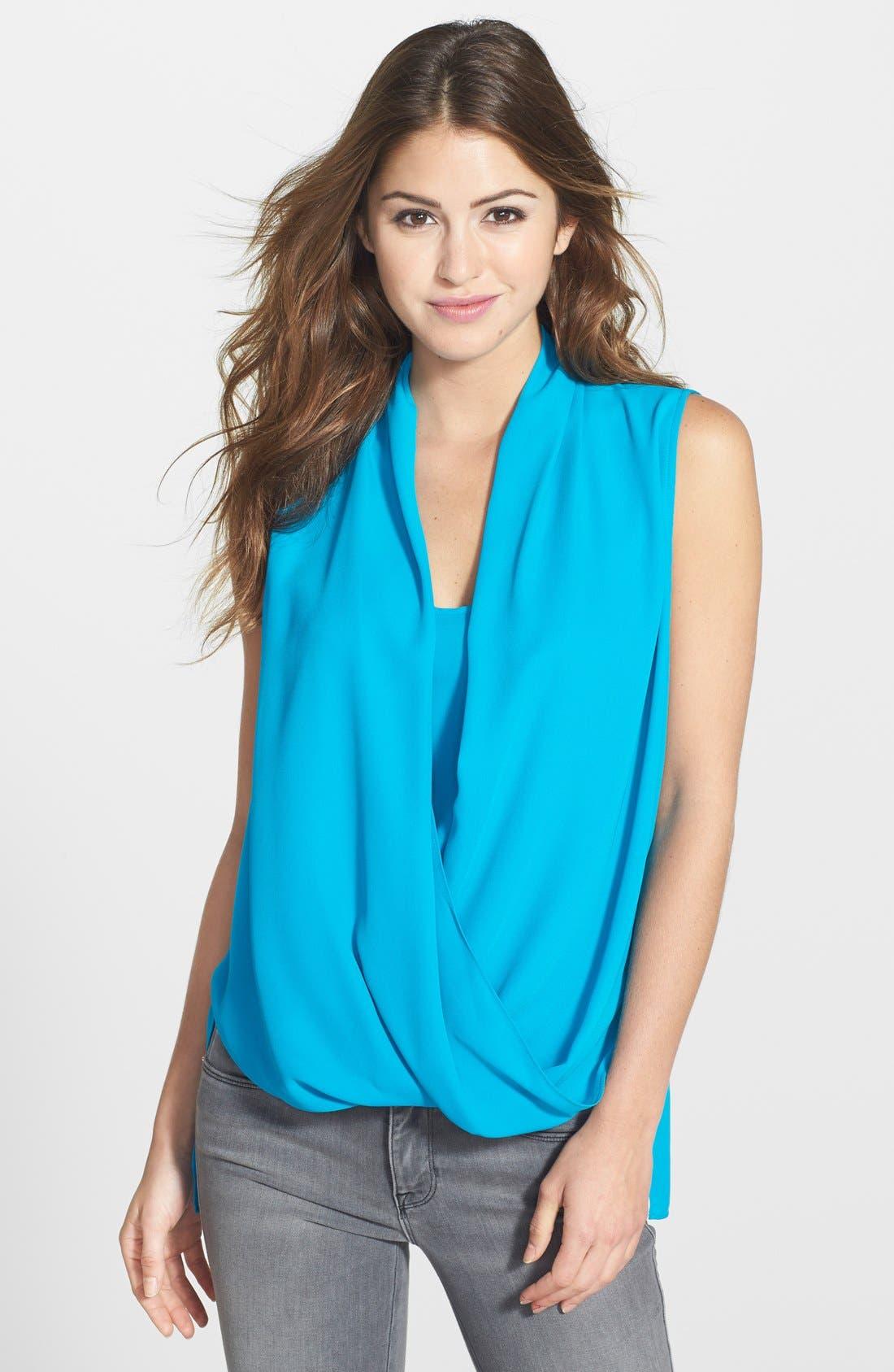 Faux Wrap Shirttail Blouse,                         Main,                         color, Blue Jewel