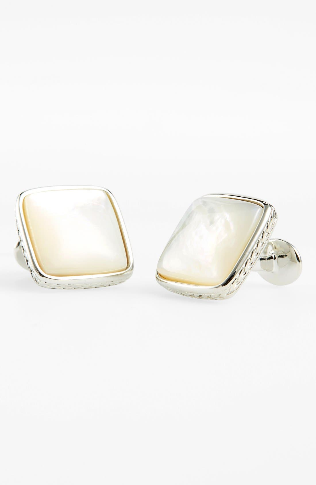 Mother of Pearl Cuff Links,                         Main,                         color, Silver/ Mother Of Pearl