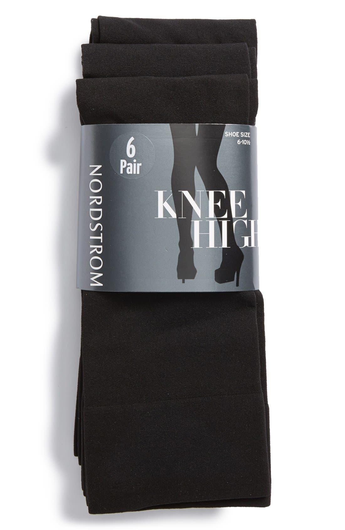 Alternate Image 1 Selected - Nordstrom Solid Opaque Knee High Socks (6-Pack)