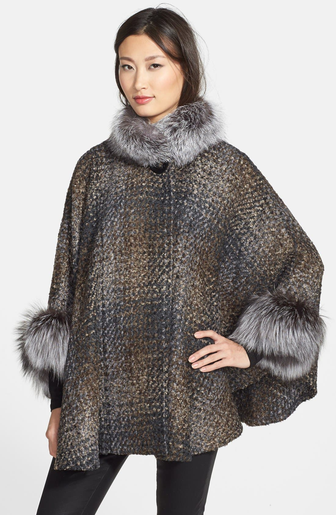 Main Image - HIDESOCIETY Genuine Fox Fur Trim Plaid Bouclé Cape