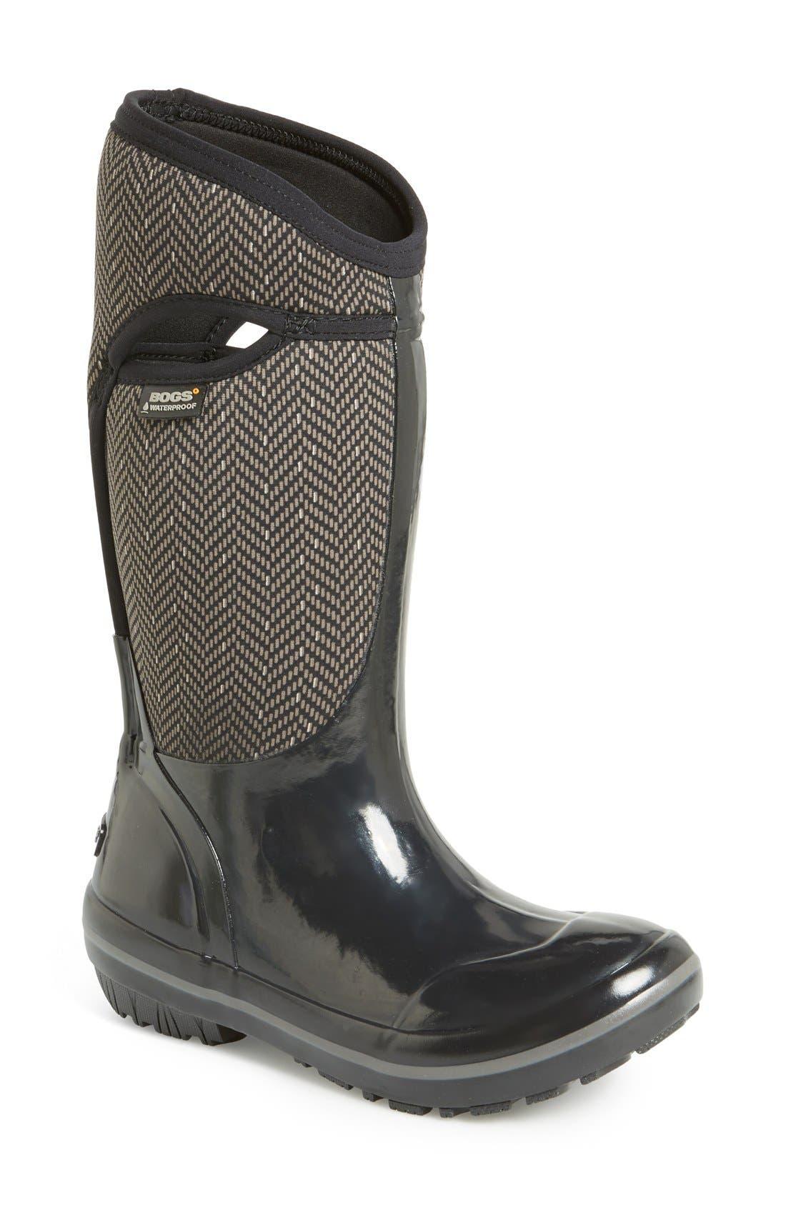 Alternate Image 1 Selected - Bogs Plimsoll  - Herringbone Waterproof Boot (Women)