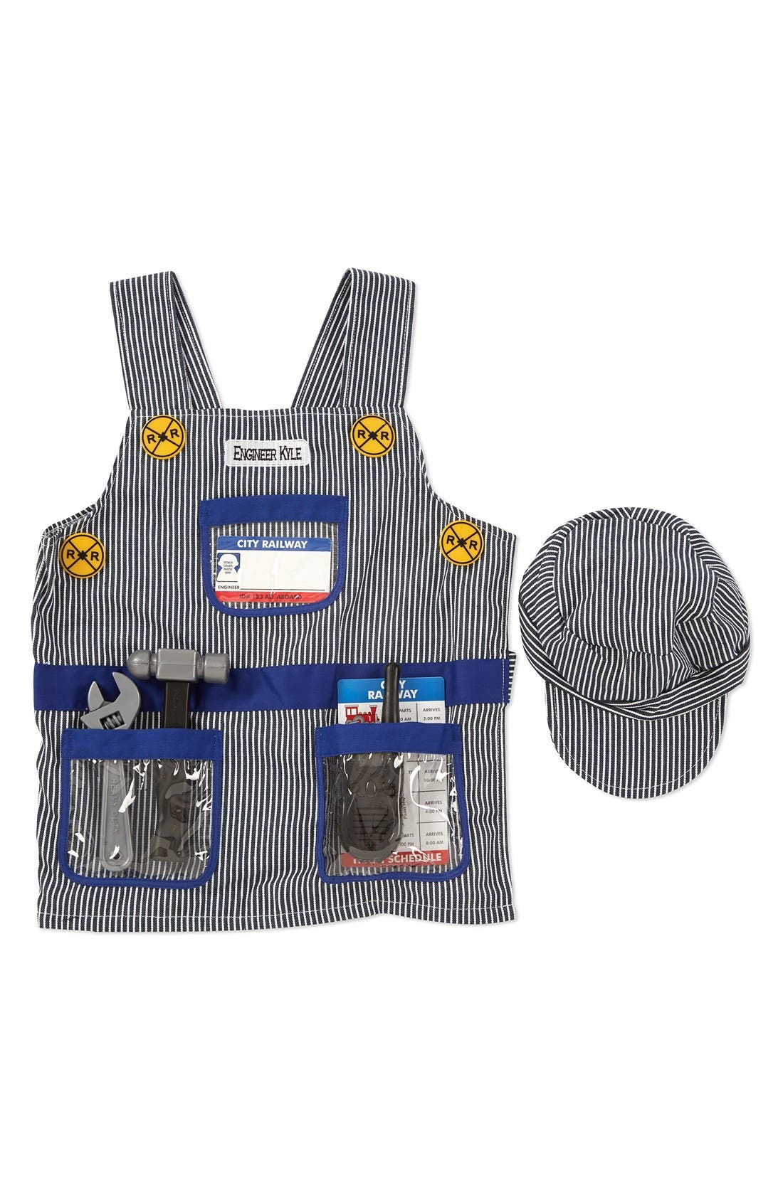 'Train Engineer' Personalized Costume Set,                         Main,                         color, Grey