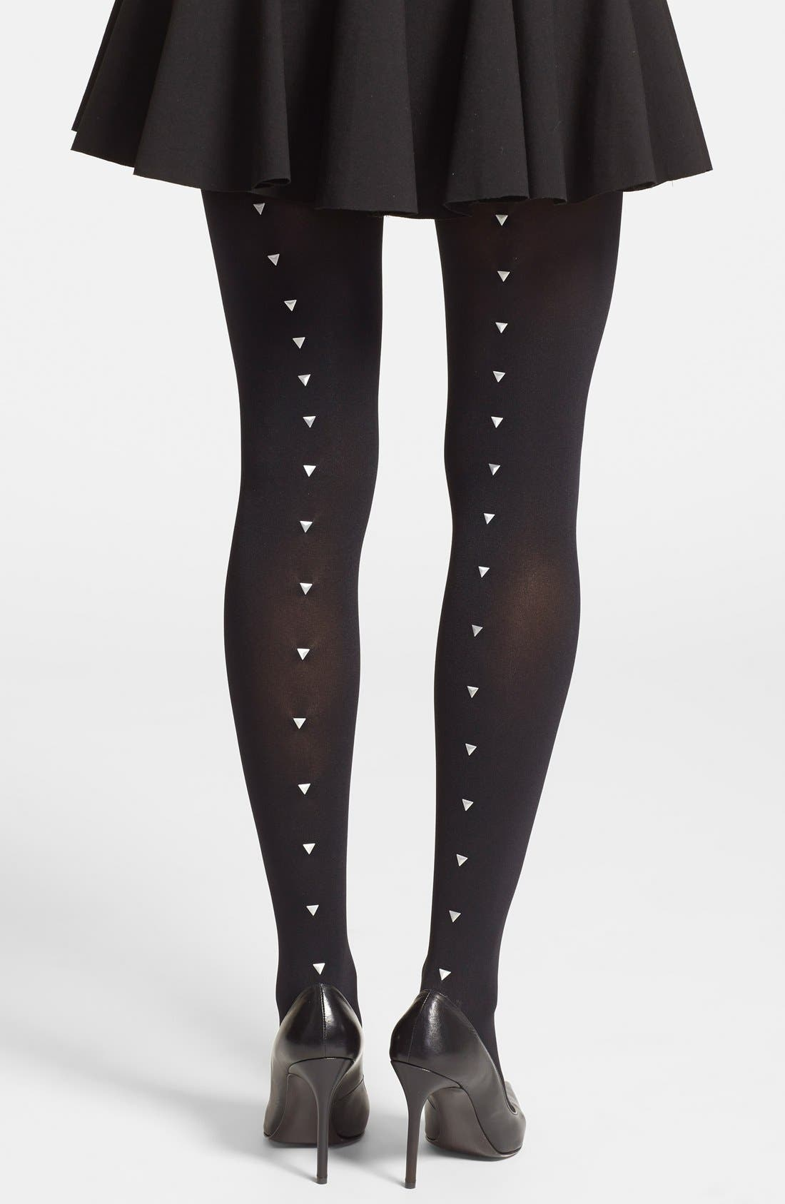 Studded Back Seam Tights,                             Main thumbnail 1, color,                             Black/ Silver